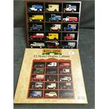 Days Gone Wooden Display Case With Box Including 15 Various Diecast Vehicles Advertising decals Esso