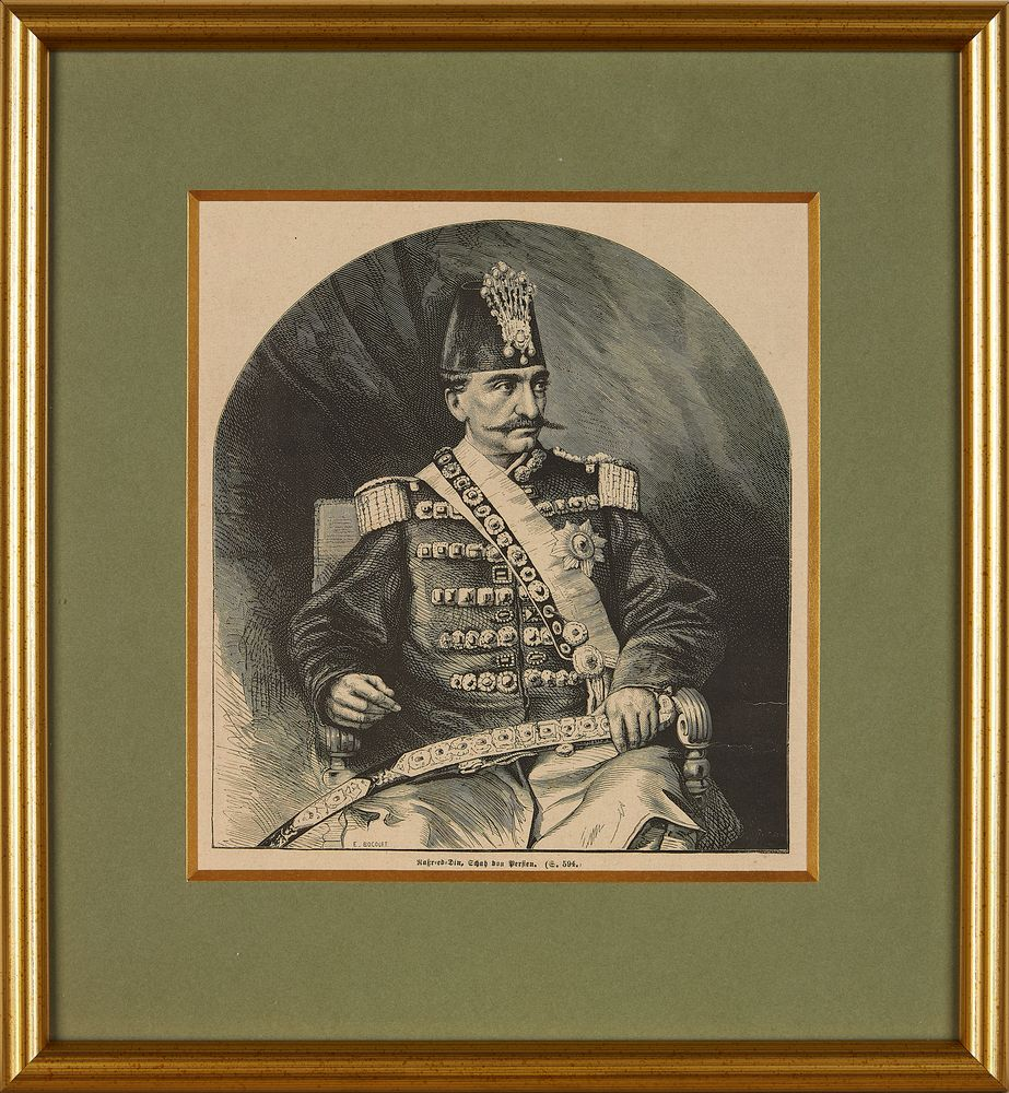 Lot 6 - Portraits of Nasser ad-Din Shah Qajar, from various European Newspapers and Journals, engravings and