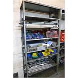 1 bay of boltless stores type racking containing a quantity of various items including clamping down