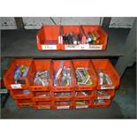 18 red plastic Lin type bins containing a quantity of 1.5mm to 20mm ball nose end mills / milling
