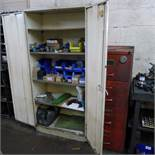 1 metal two door storage cabinet containing various items including machine bolts, reamers, washers,