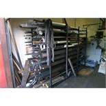 1 steel stock storage rack containing a quantity of flat bar, round bar, plastic / nylon / metal