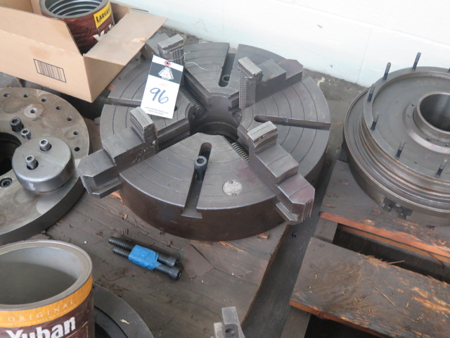 """Lot 96 - 18"""" 4-Jaw Chuck and Misc Tooling"""