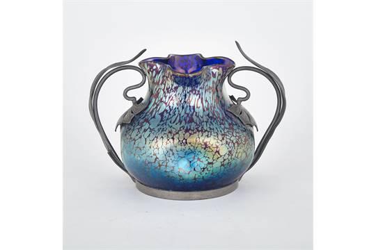 Loetz Papillon Iridescent Glass Vase C1900 Mounted With Stylized