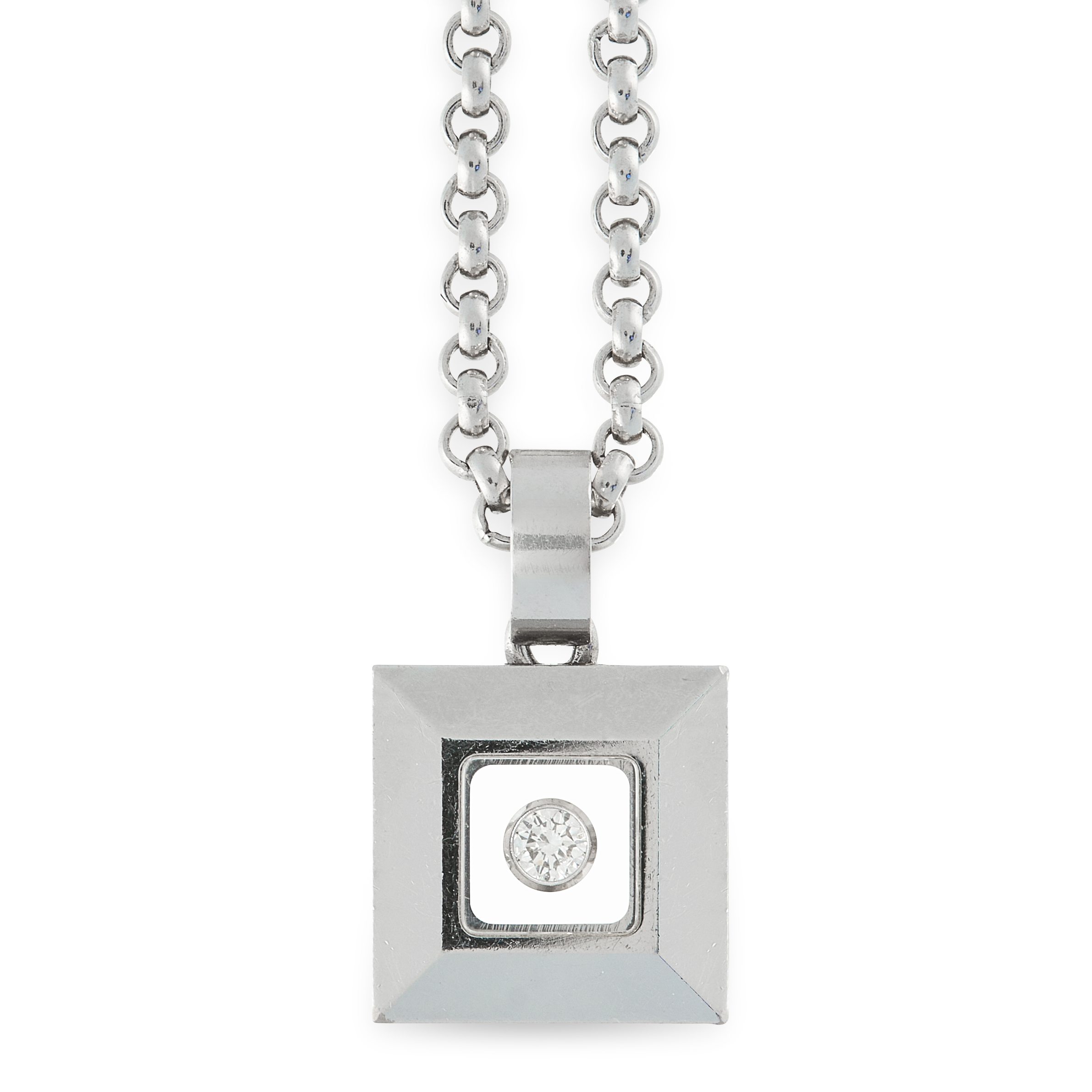 A HAPPY DIAMONDS PENDANT AND CHAIN, CHOPARD in 18ct white gold, the square face is set with a
