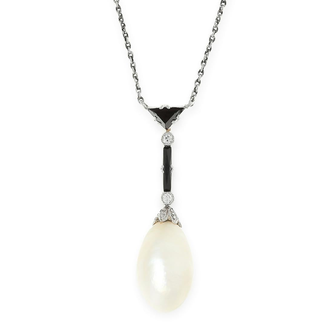 A NATURAL PEARL, ONYX AND DIAMOND PENDANT NECKLACE in 18ct white gold, set with a drop shaped