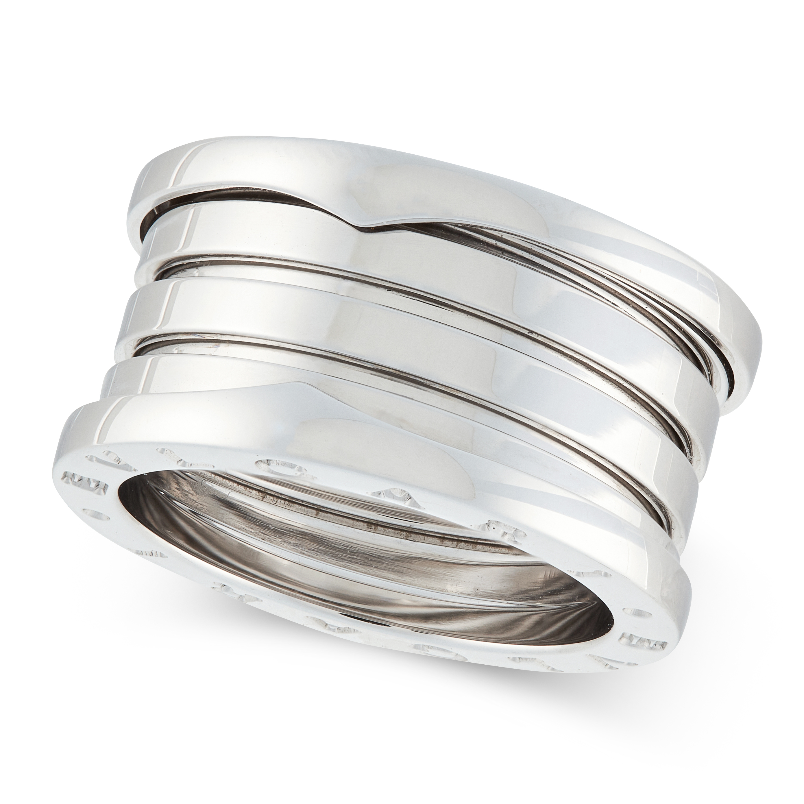 A B.ZERO1 BAND RING, BULGARI in 18ct white gold, designed as an articulated band, signed Bvlgari,