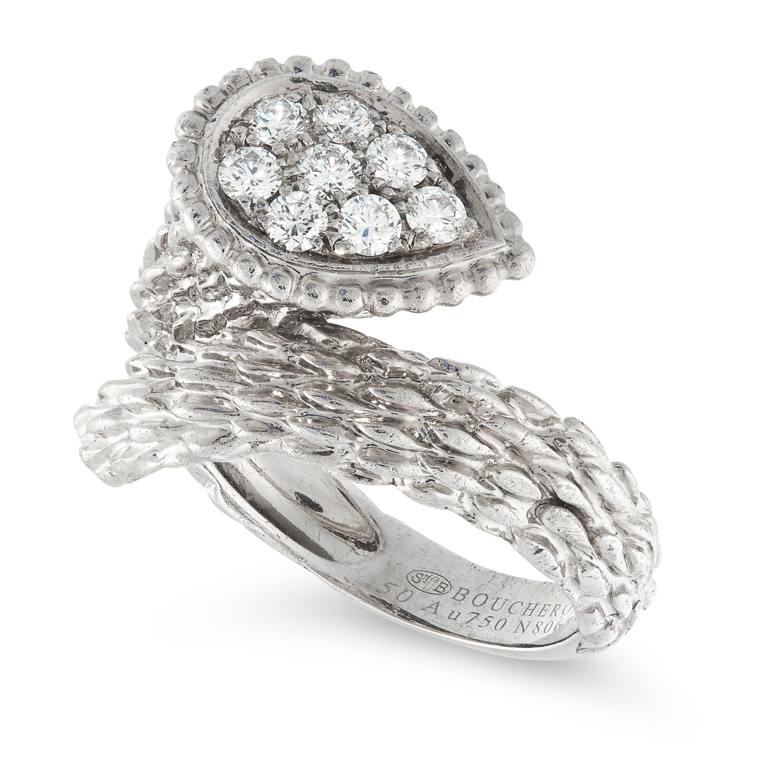 A SERPENT BOHEME DIAMOND SNAKE RING, BOUCHERON in 18ct white gold, the textured body coiled around