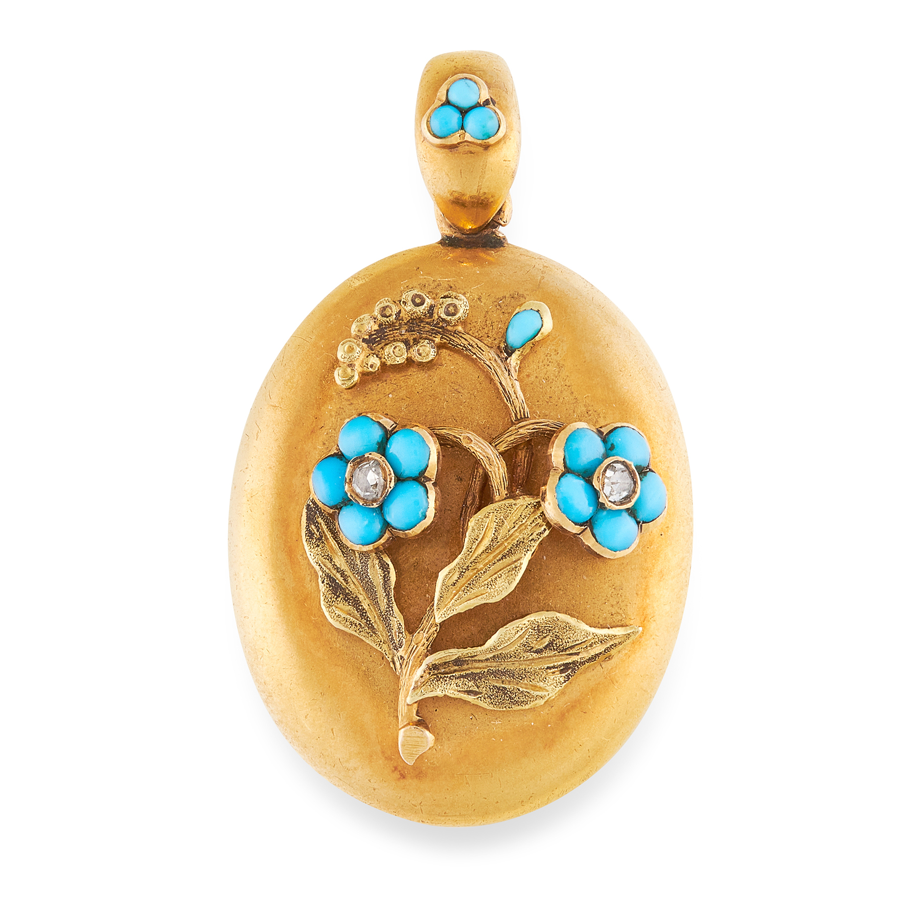 AN ANTIQUE TURQUOISE AND DIAMOND MOURNING LOCKET PENDANT, 19TH CENTURY in yellow gold, the oval body