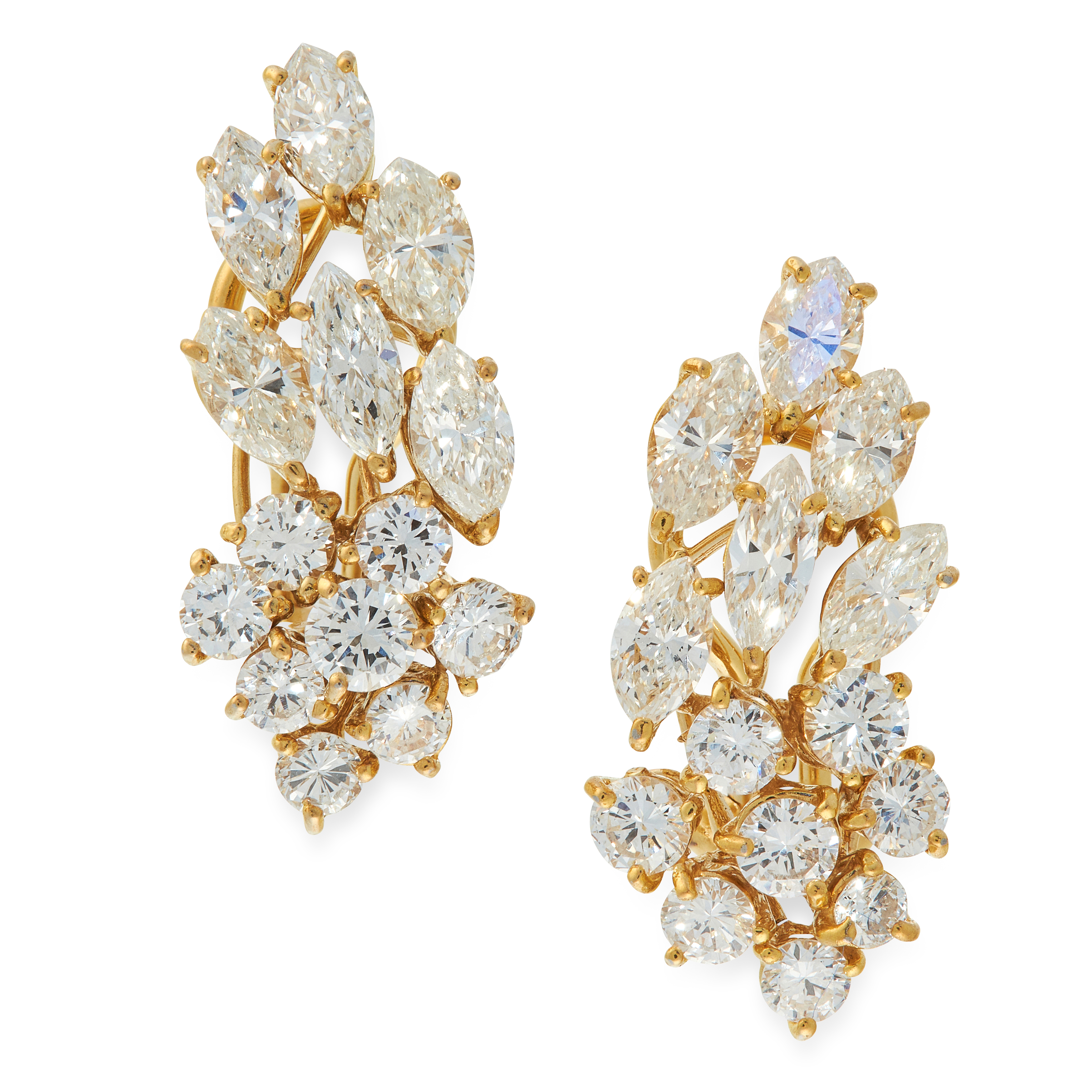 A DIAMOND BROOCH / PENDANT AND EARRINGS SUITE in yellow gold, each of foliate design, set with - Image 2 of 2