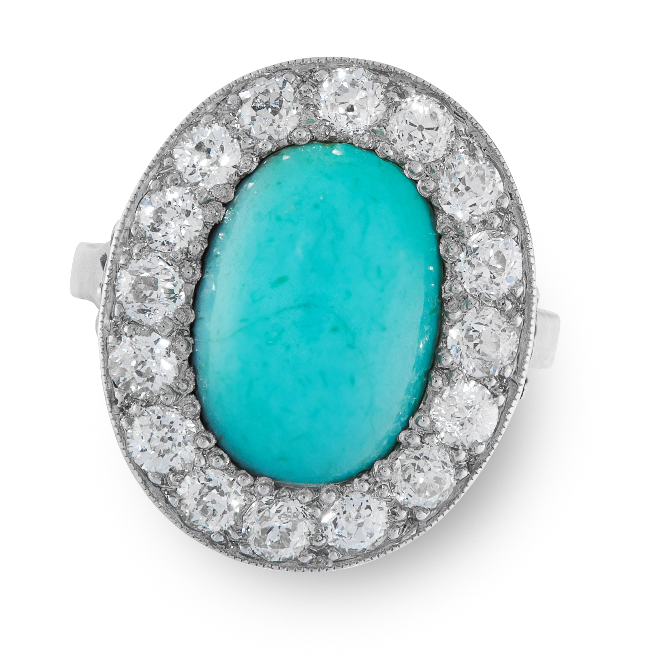 A TURQUOISE AND DIAMOND CLUSTER RING, EARLY 20TH CENTURY set with an oval turquoise cabochon