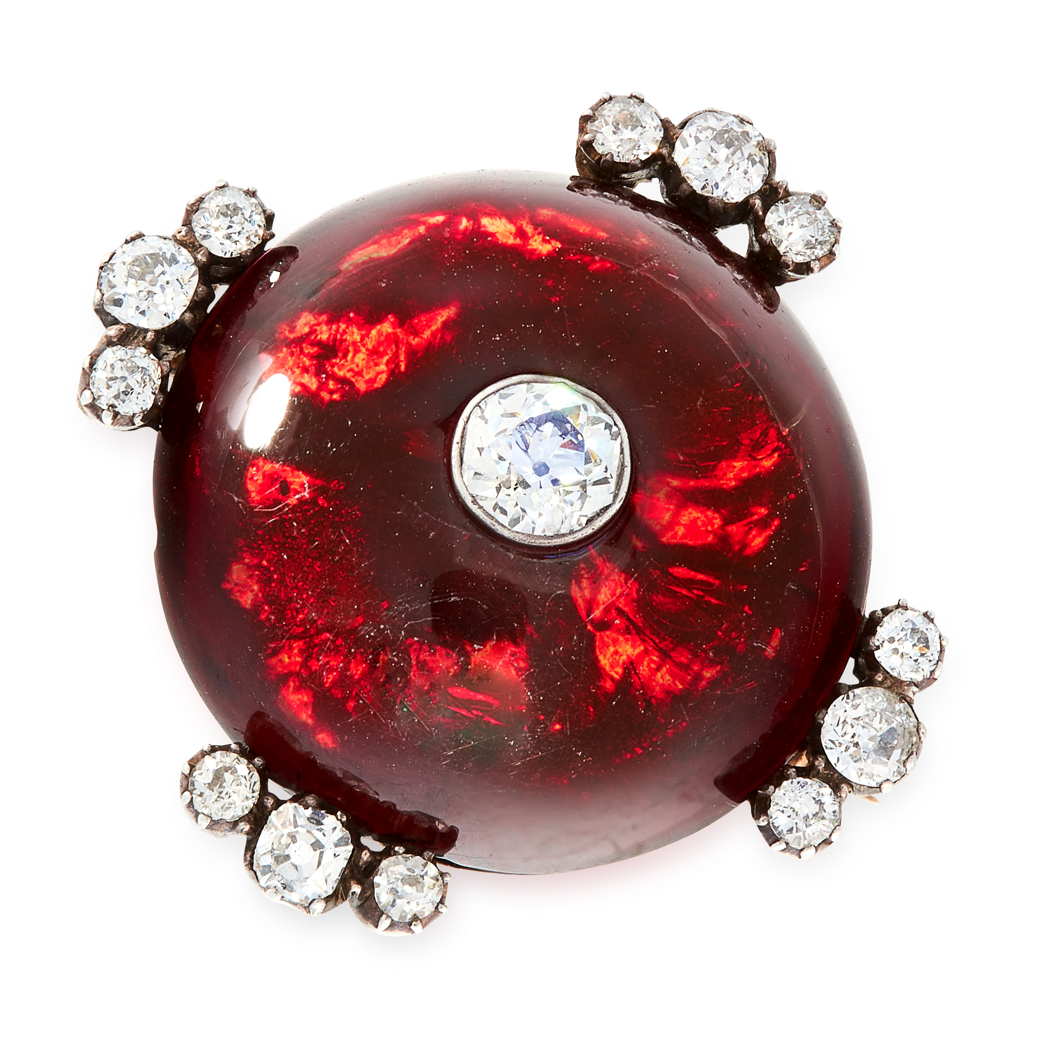 AN ANTIQUE GARNET AND DIAMOND BROOCH in yellow gold and silver, comprising a circular cabochon