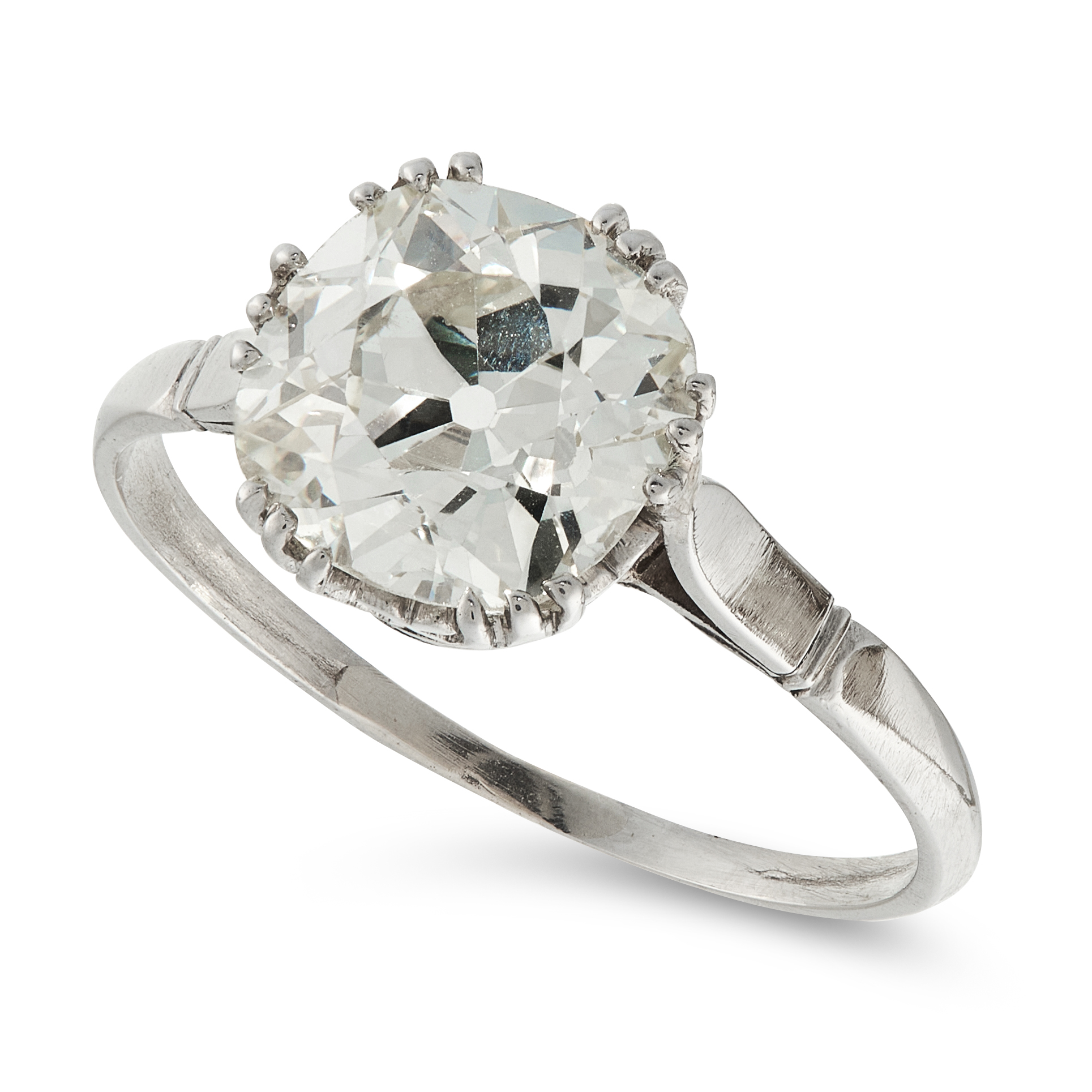 A 2.74 CARAT SOLITAIRE DIAMOND RING set with an old European cut diamond of 2.74 carats, unmarked,