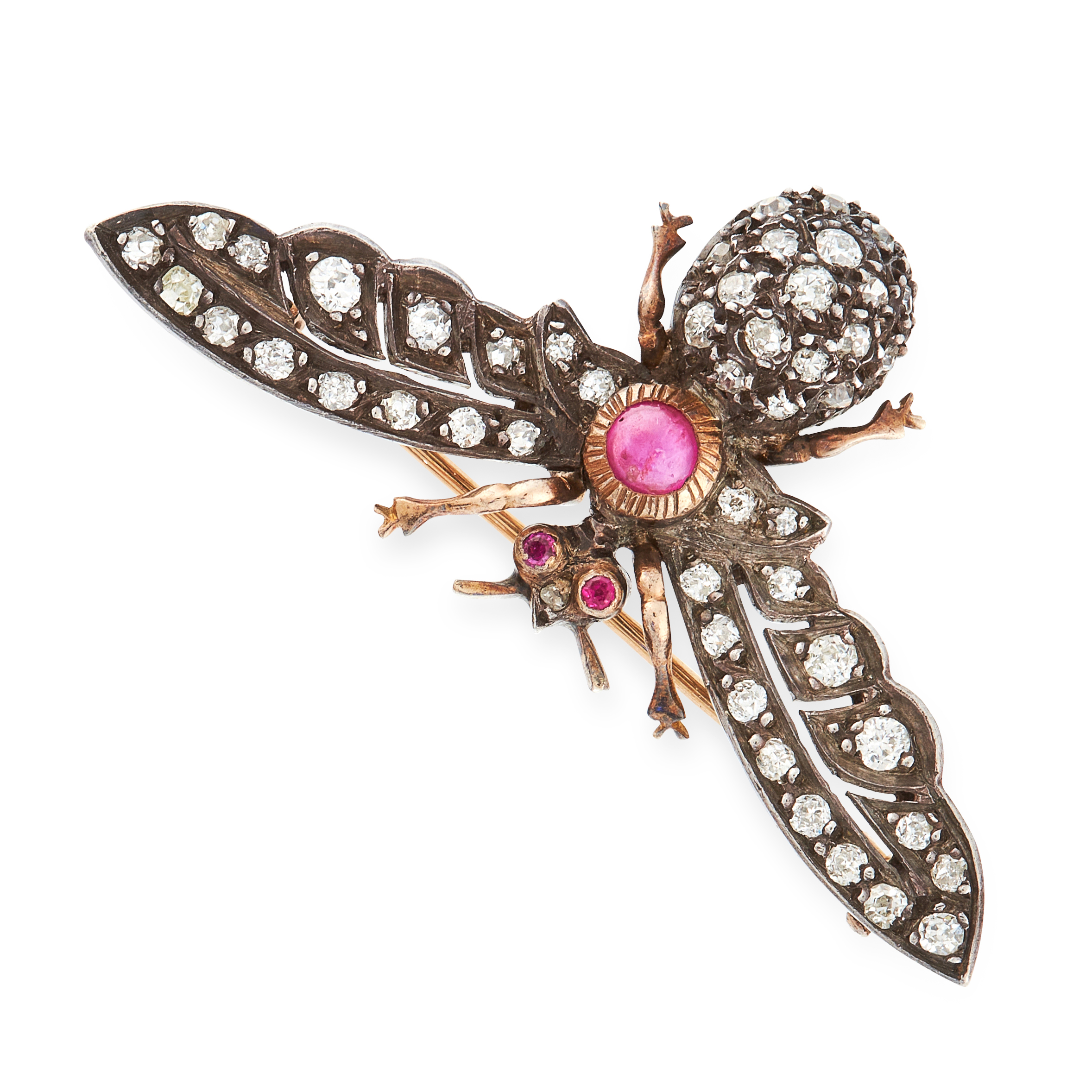 AN ANTIQUE RUBY AND DIAMOND INSECT BROOCH in yellow gold and silver, the body set with a principal