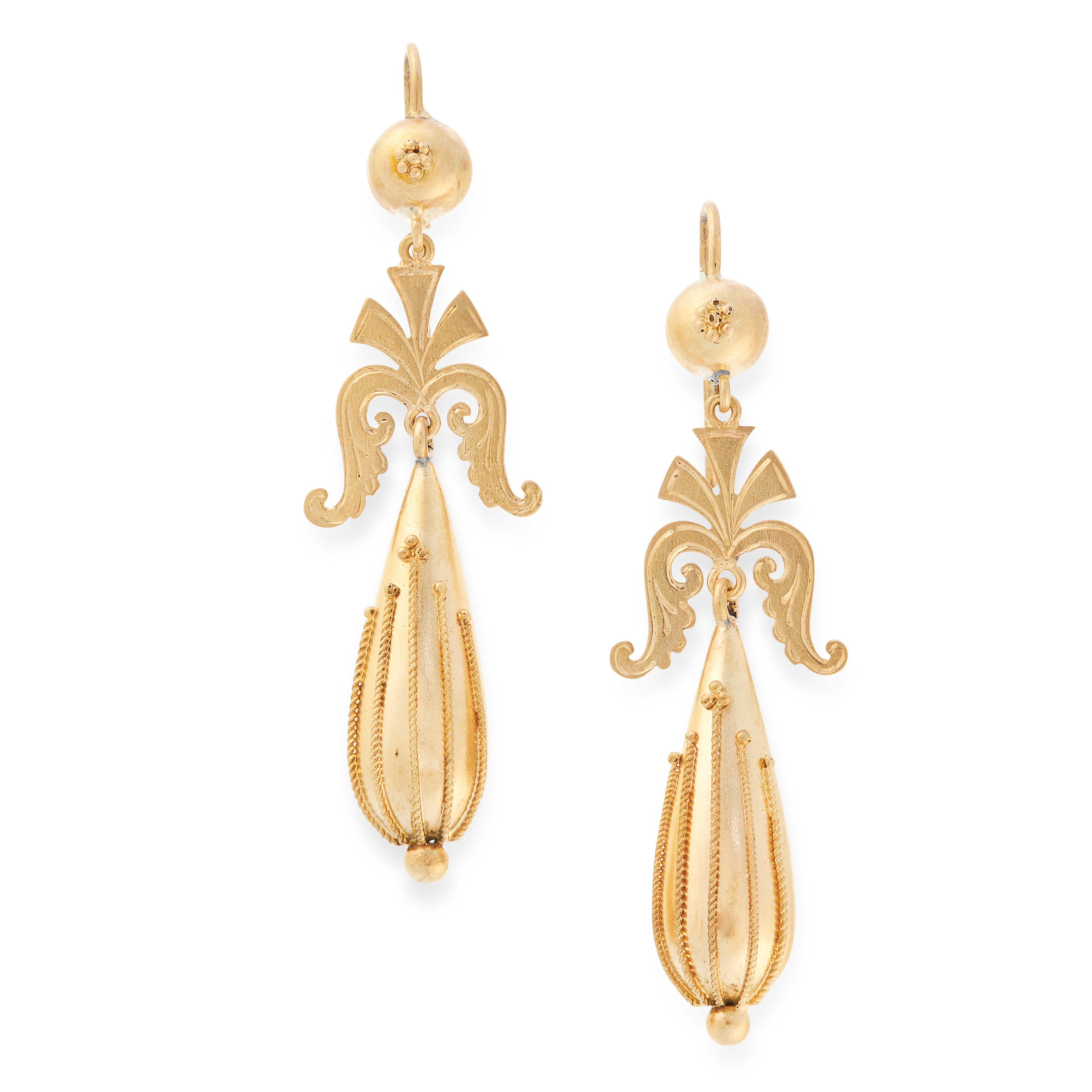 A PAIR OF ANTIQUE DROP EARRINGS, 19TH CENTURY in yellow gold, the articulated body of each formed of