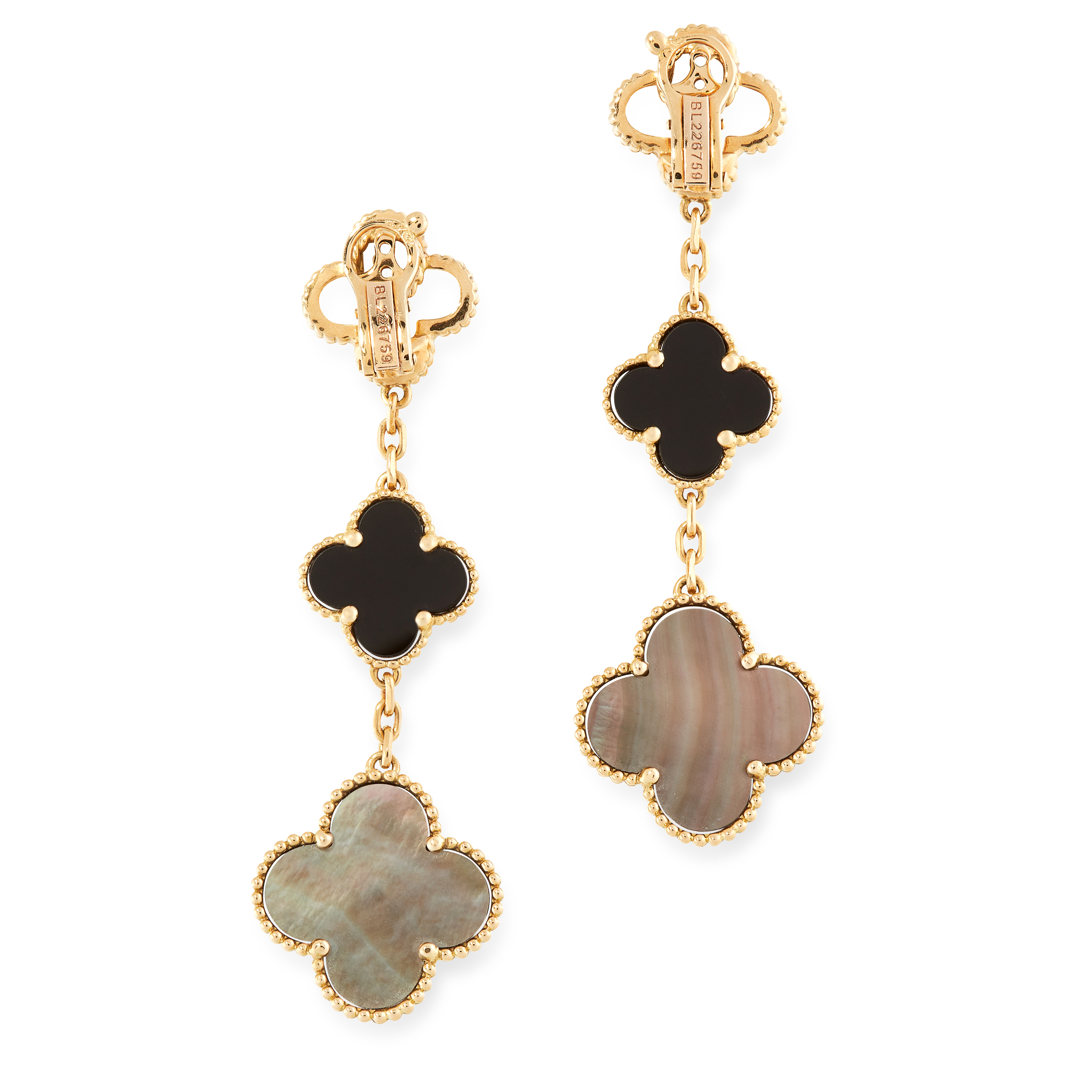 A PAIR OF MOTHER OF PEARL AND ONYX ALHAMBRA EARRINGS, VAN CLEEF & ARPELS in 18ct yellow gold, each - Image 2 of 2