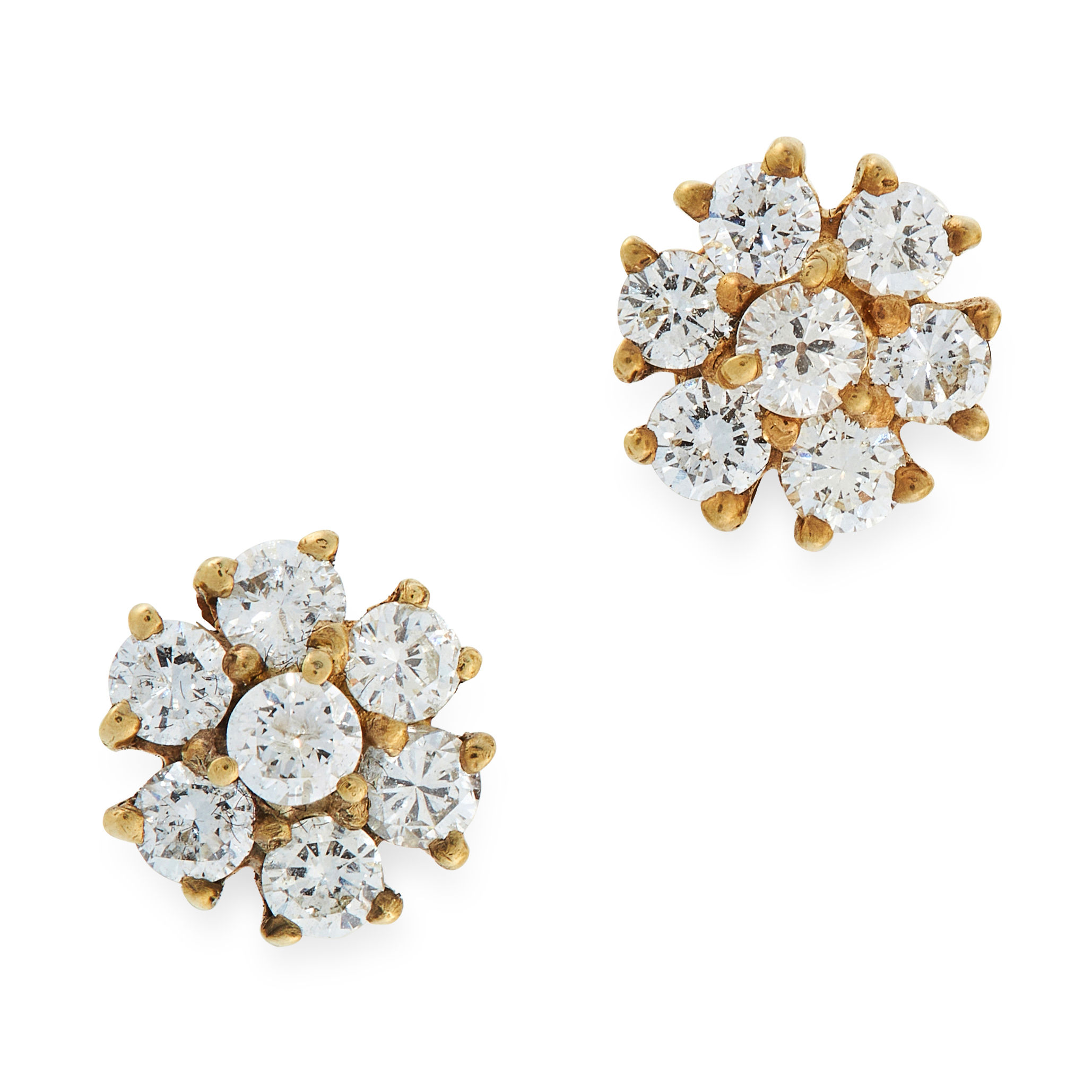 A PAIR OF DIAMOND CLUSTER STUD EARRINGS in 18ct yellow gold, each set with a cluster of seven