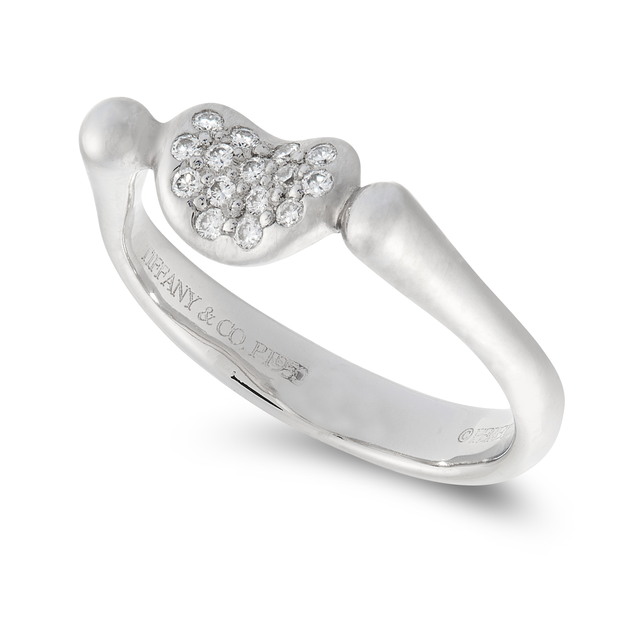 A DIAMOND BEAN RING, ELSA PERETTI FOR TIFFANY & CO in platinum, the central bean motif set with