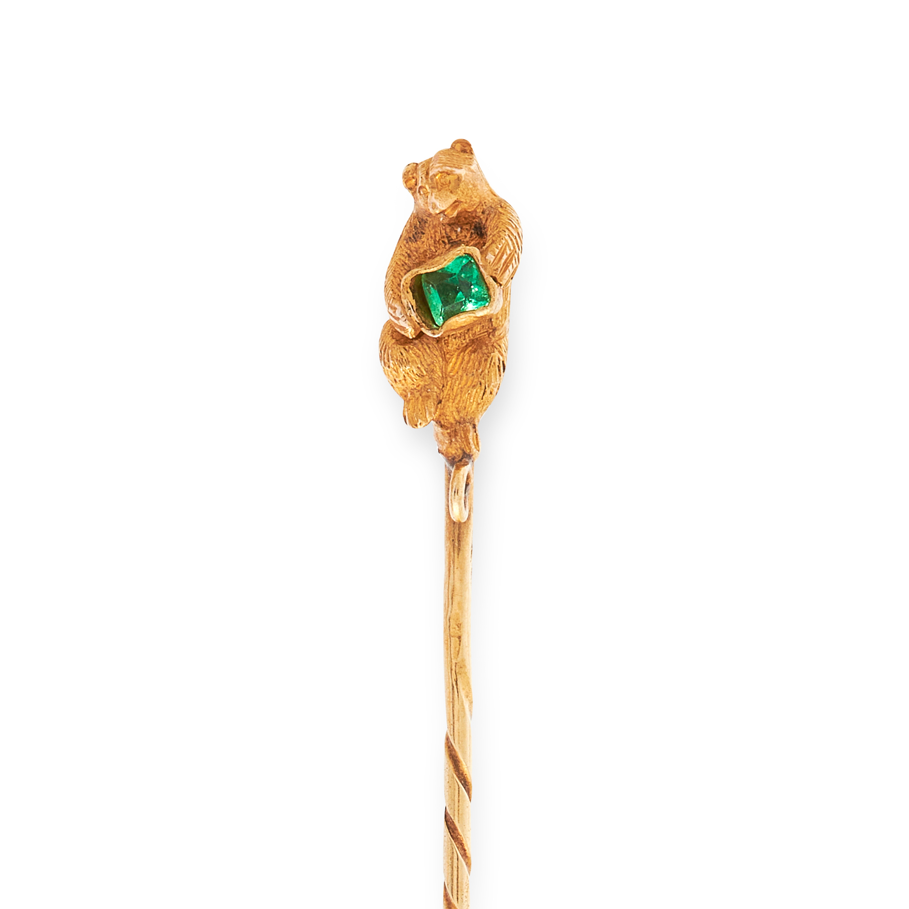 TWO ANTIQUE GEMSET TIE / STICK PINS in 18ct yellow gold, in the form of a beer holding a green