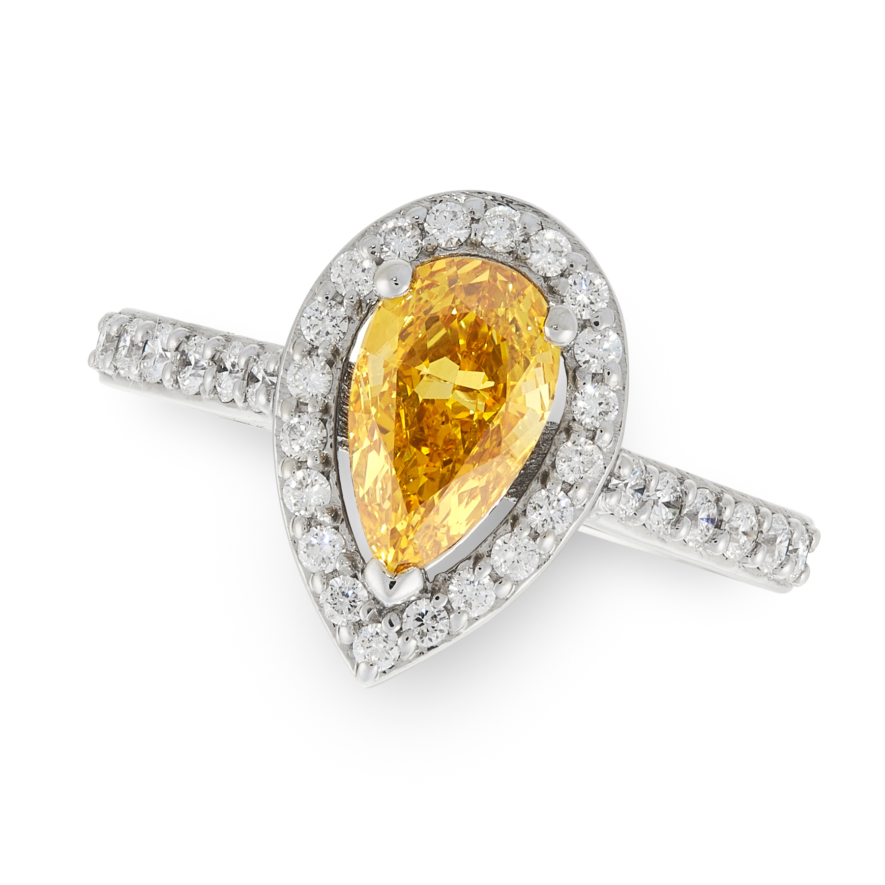 A FANCY INTENSE ORANGE-YELLOW DIAMOND AND WHITE DIAMOND RING in 18ct white gold, set with a pear