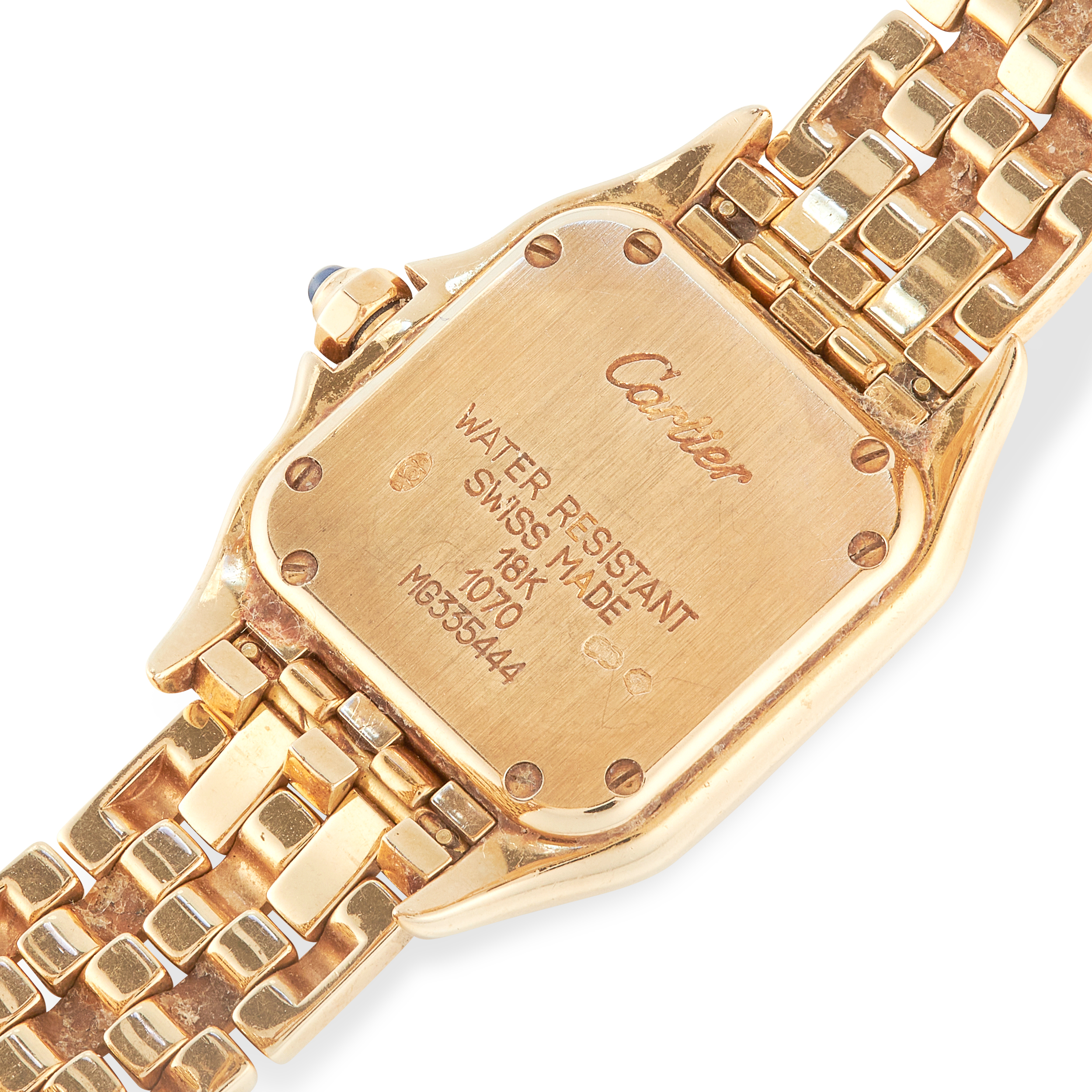 A LADIES PANTHERE DE CARTIER WRIST WATCH, CARTIER in 18ct yellow gold, the face with Roman numerals, - Image 3 of 3