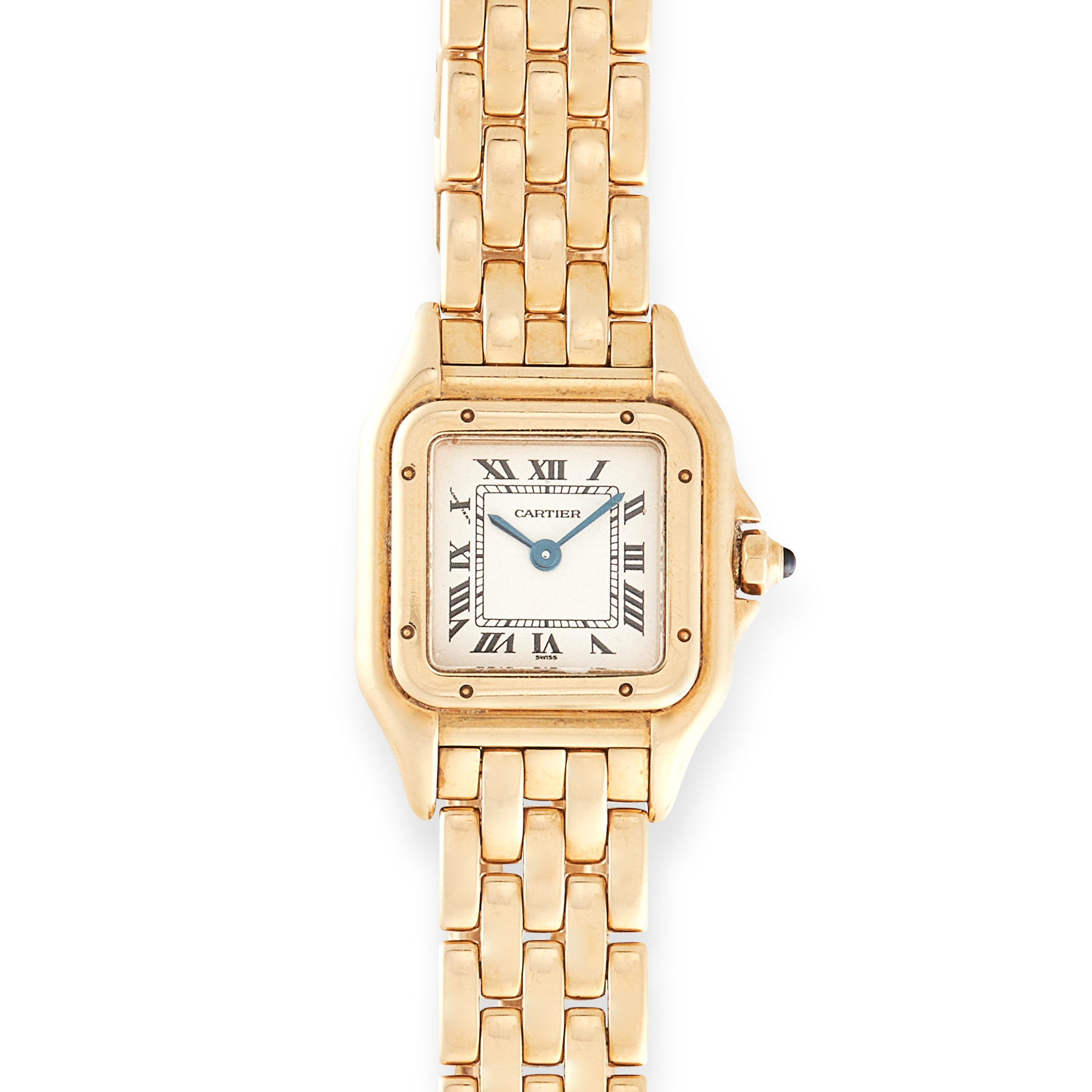 A LADIES PANTHERE DE CARTIER WRIST WATCH, CARTIER in 18ct yellow gold, the face with Roman numerals,
