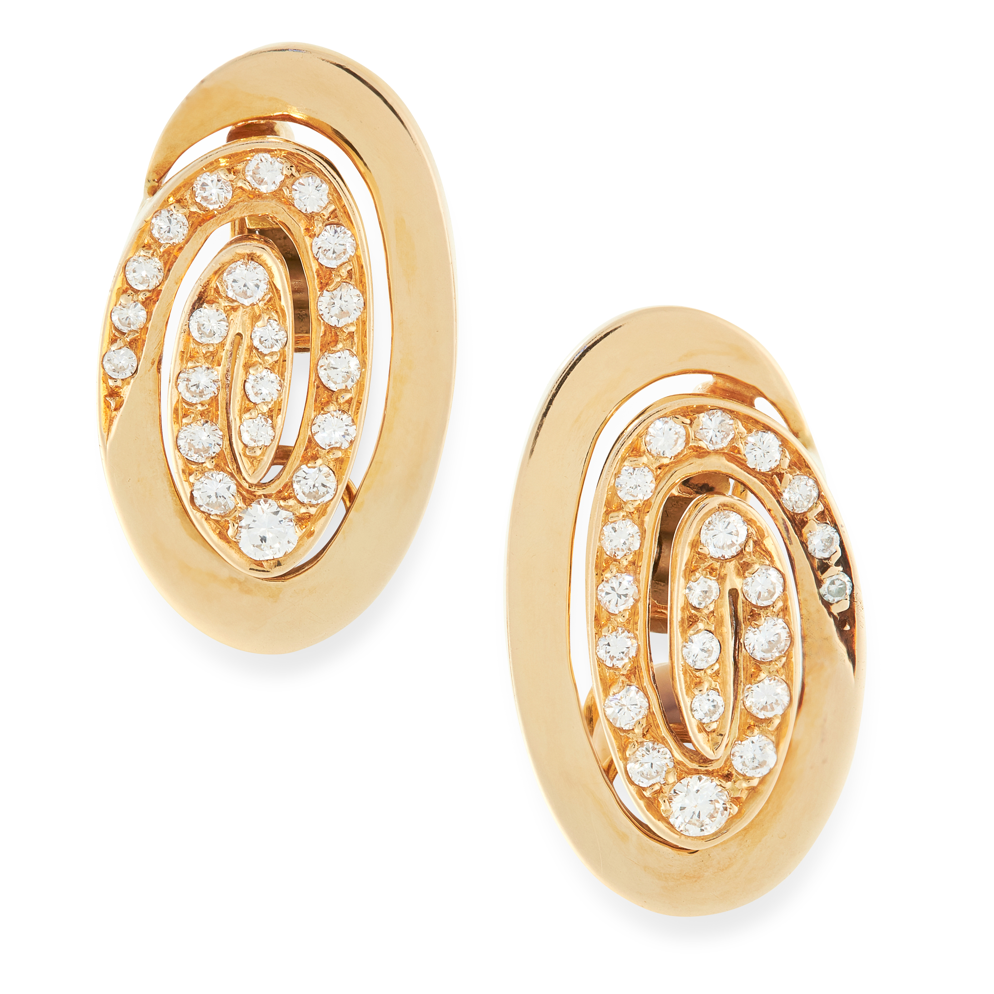 A PAIR OF DIAMOND CLIP EARRINGS, BULGARI in 18ct yellow gold, the oval bodies formed of scrolling