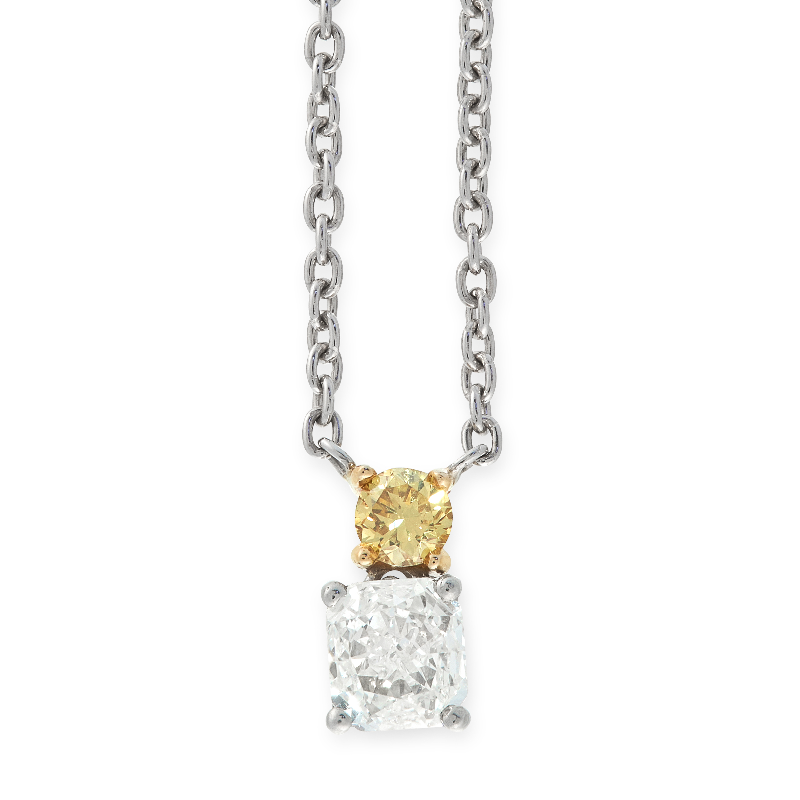 A YELLOW AND WHITE DIAMOND PENDANT NECKLACE, HIRSH in platinum, comprising of a round cut yellow
