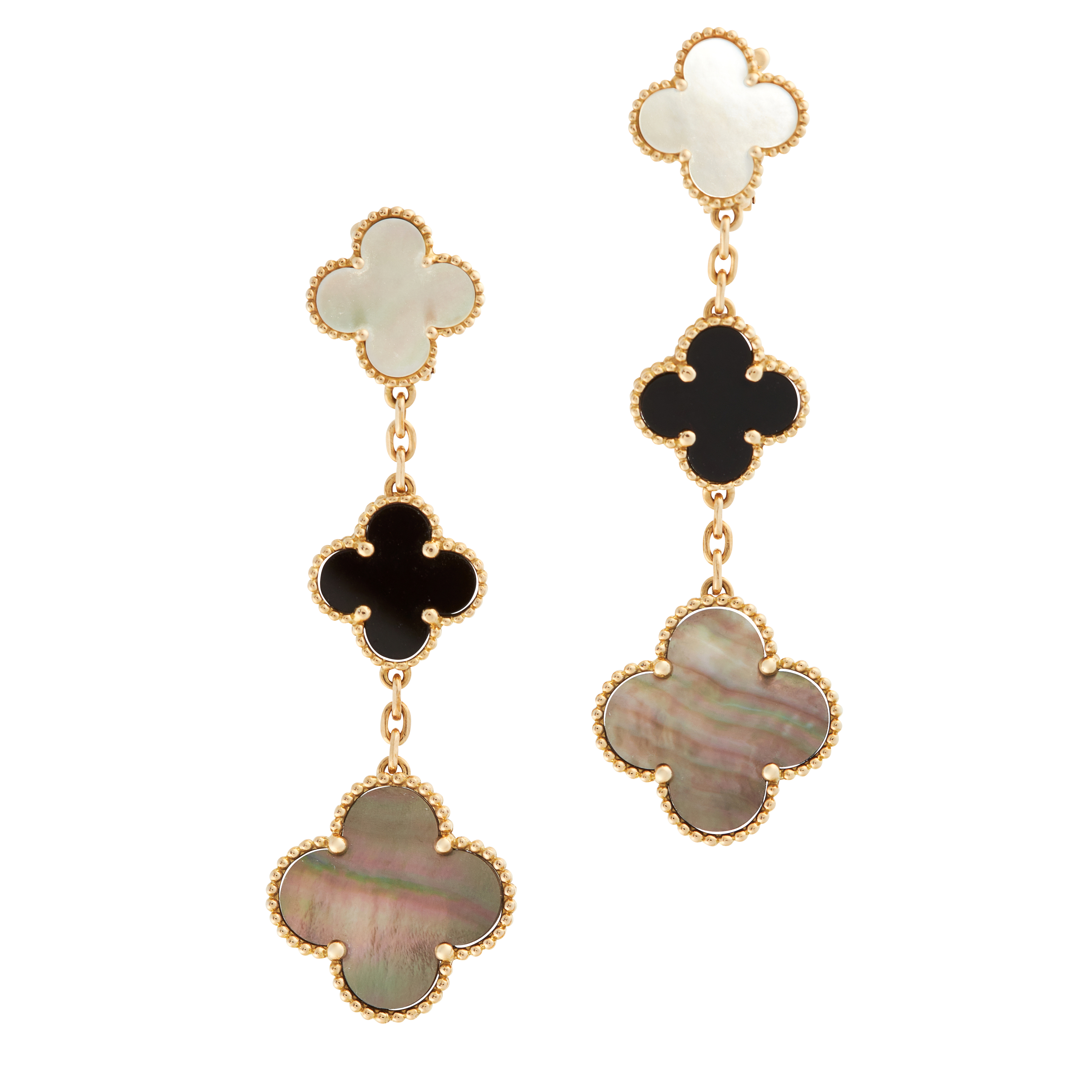 A PAIR OF MOTHER OF PEARL AND ONYX ALHAMBRA EARRINGS, VAN CLEEF & ARPELS in 18ct yellow gold, each