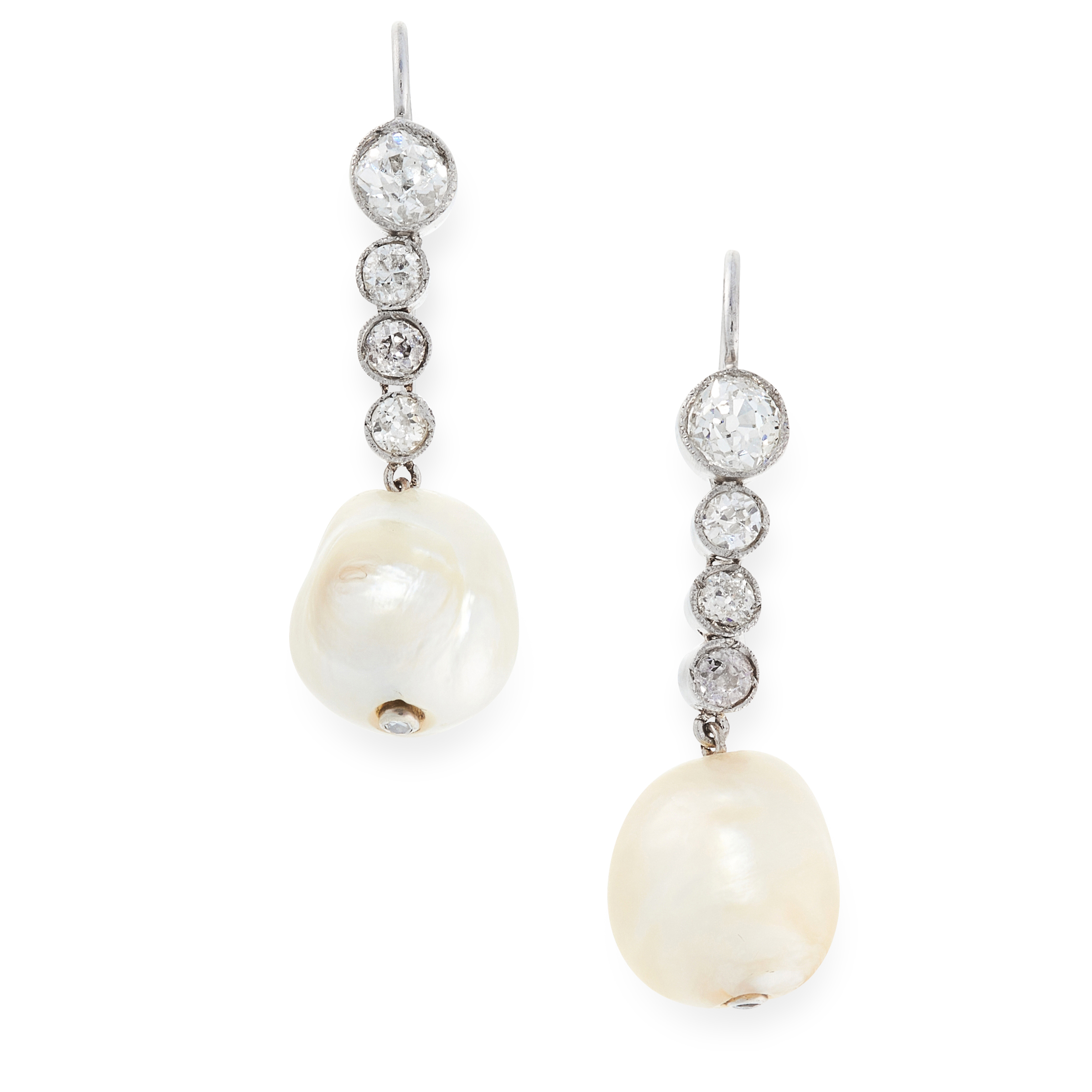 A PAIR OF ART DECO NATURAL PEARL AND DIAMOND EARRINGS each set with a natural pearl of 11.4mm and