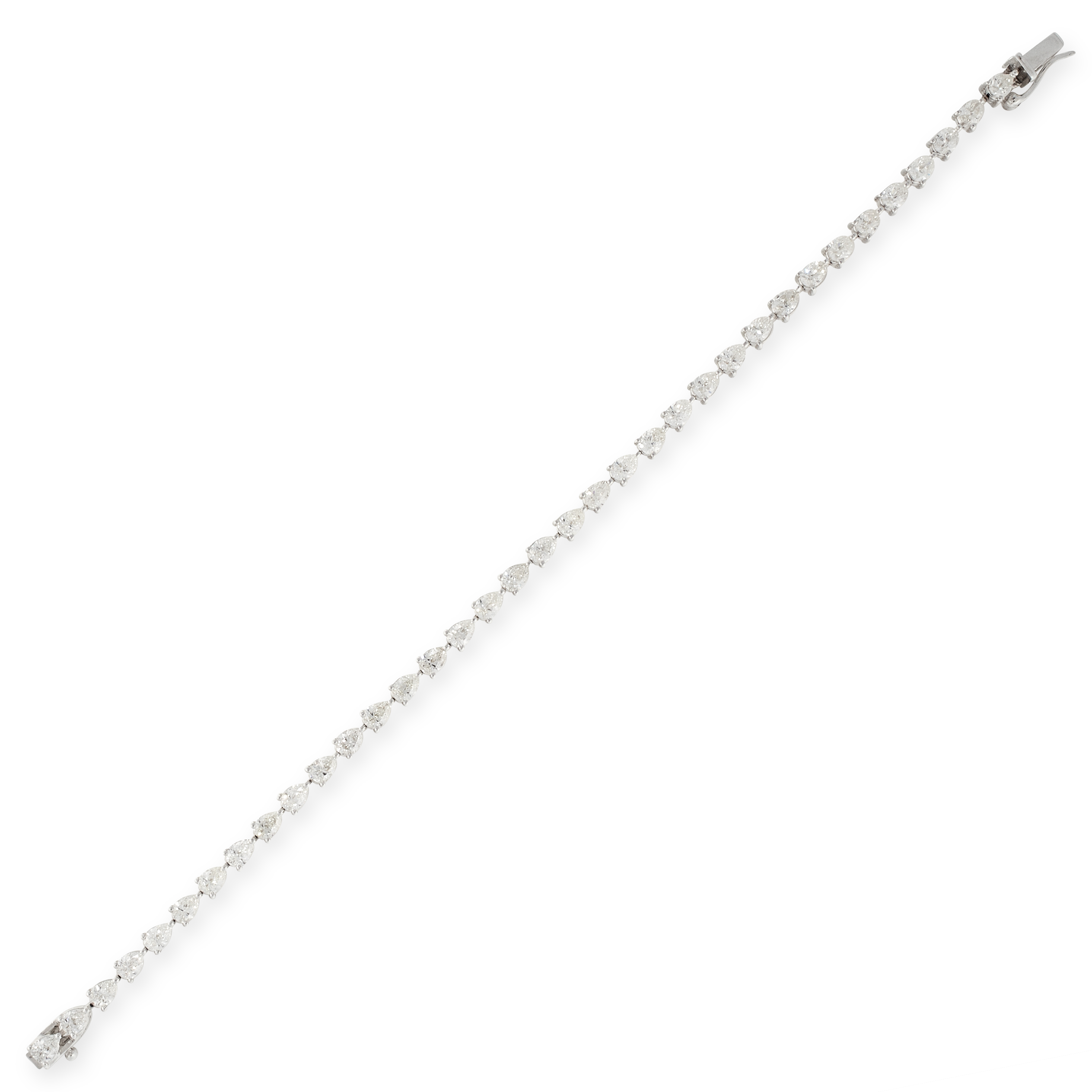 A 5.33 CARAT DIAMOND LINE BRACELET in 18ct white gold, comprising a single row of thirty-six pear - Image 2 of 2