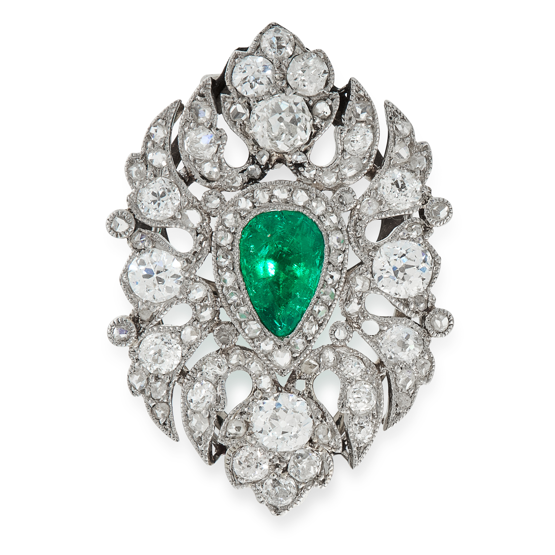AN EMERALD AND DIAMOND CLIP BROOCH set with a central pear cut emerald of 0.83 carats in a foliate