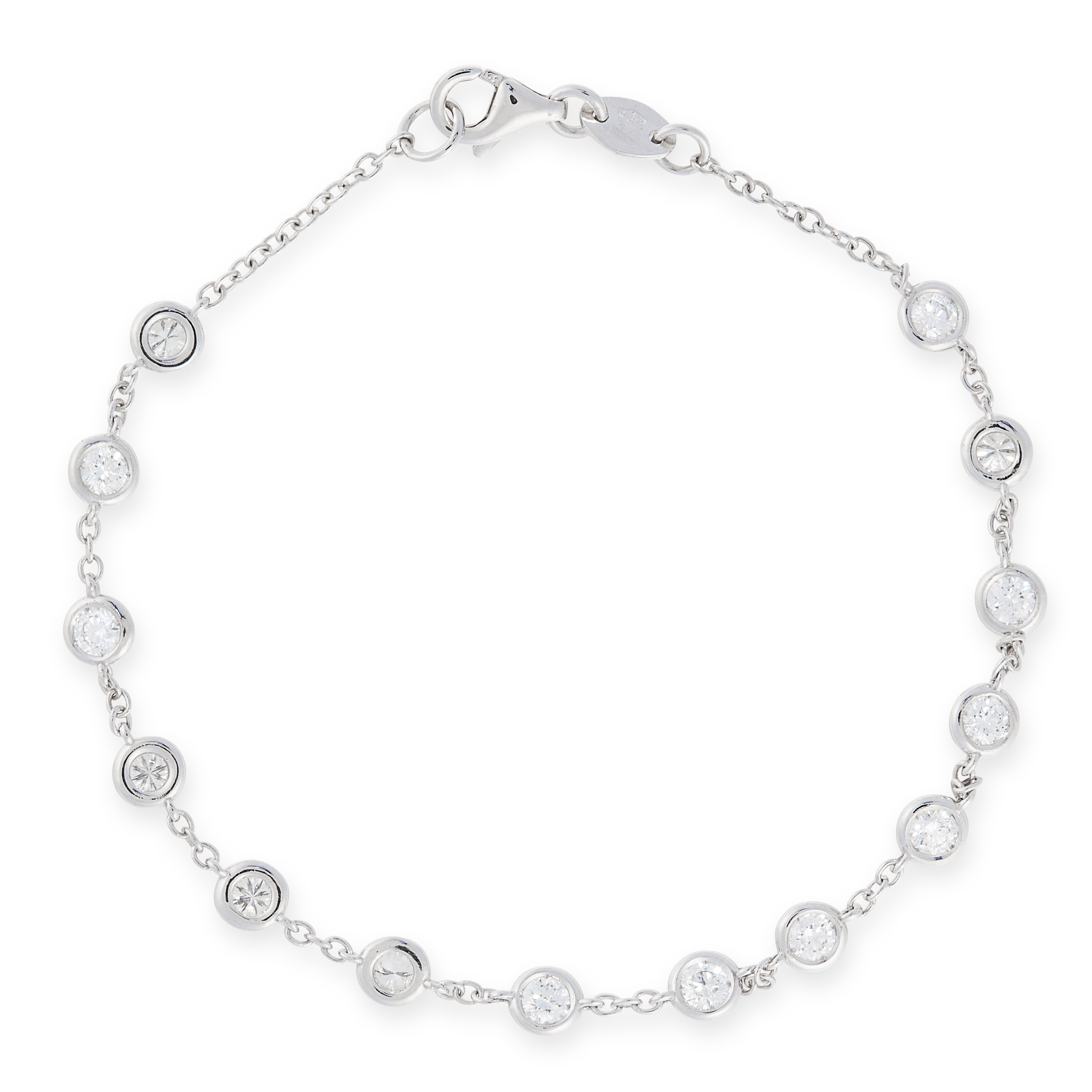 A DIAMOND LINE BRACELET in 18ct white gold, the chain set with fourteen round cut diamonds totalling