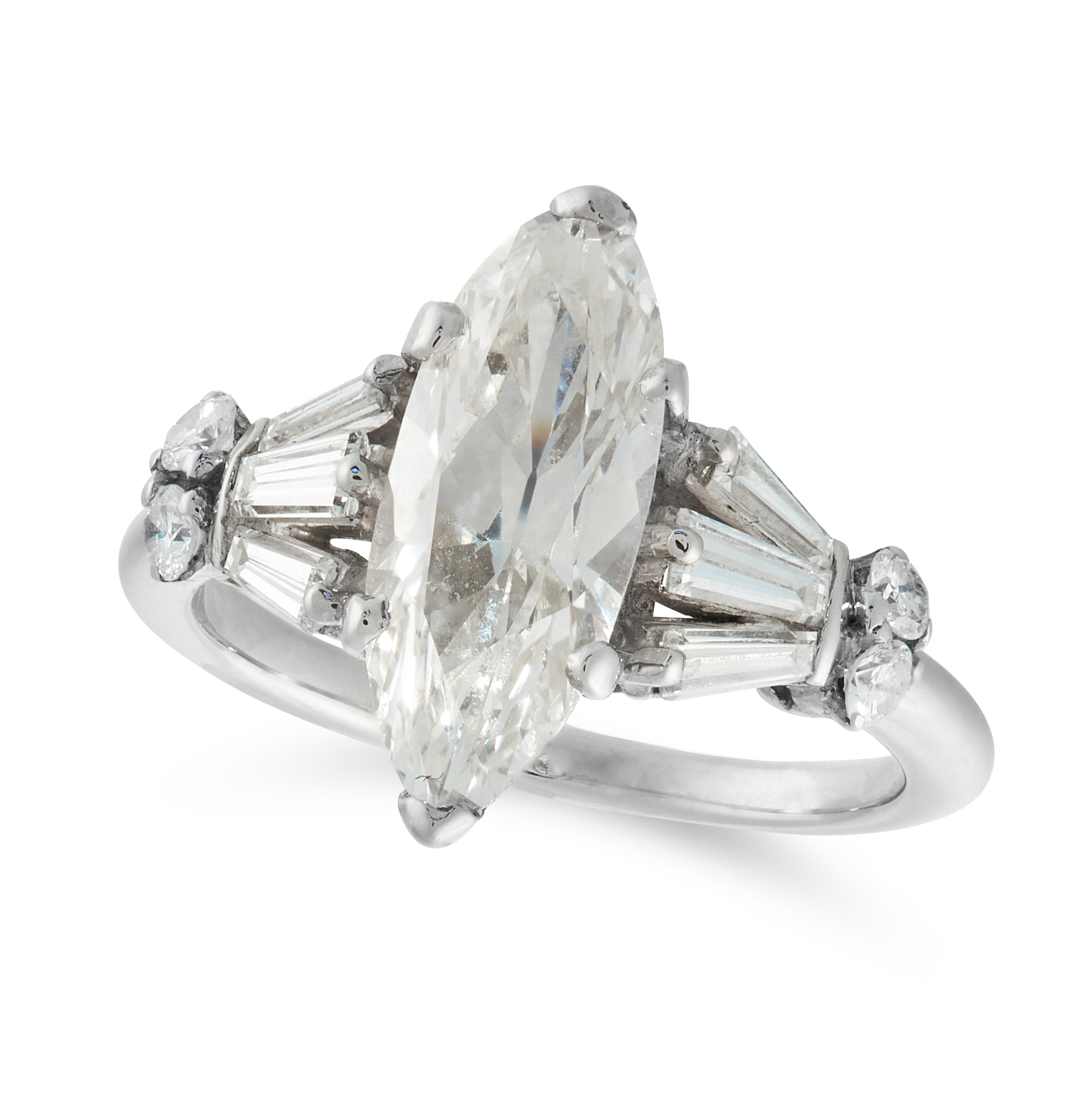 A SOLITAIRE DIAMOND DRESS RING set with a central marquise shaped old cut diamond of 1.93 carats,