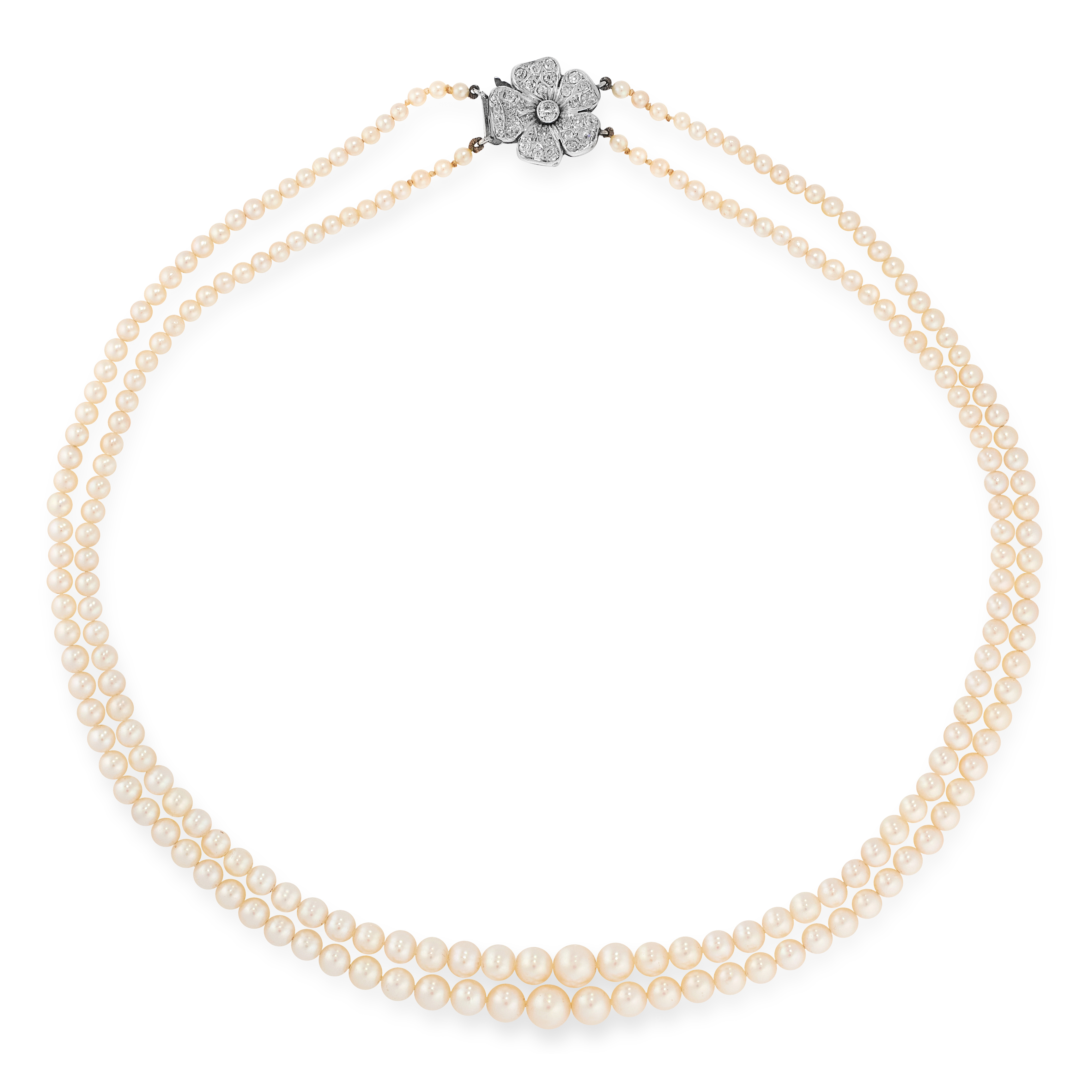 A PEARL AND DIAMOND NECKLACE, CIRCA 1955 in platinum, comprising two rows of graduated pearls