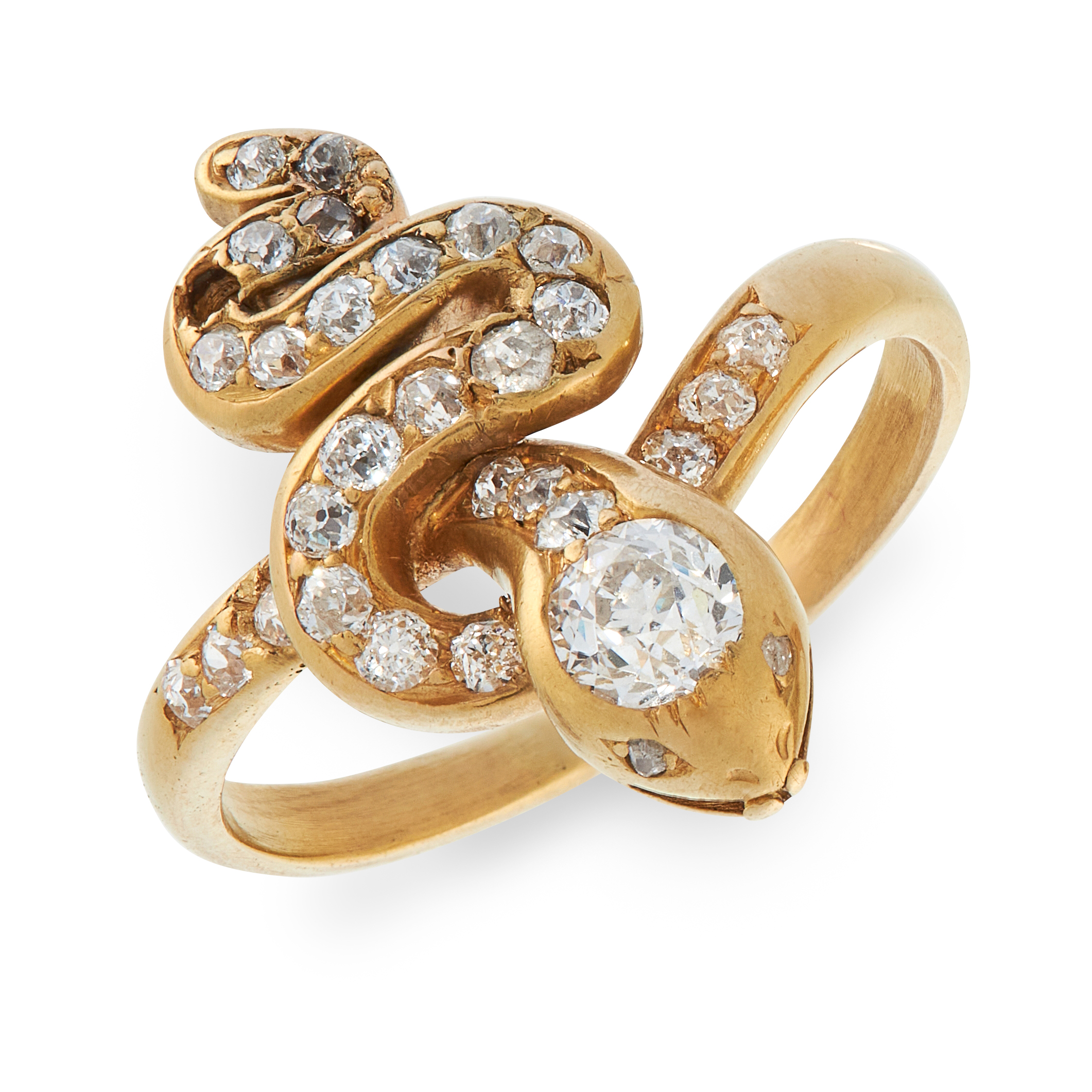 A DIAMOND SNAKE RING in high carat yellow gold, designed as the body of a snake coiled around