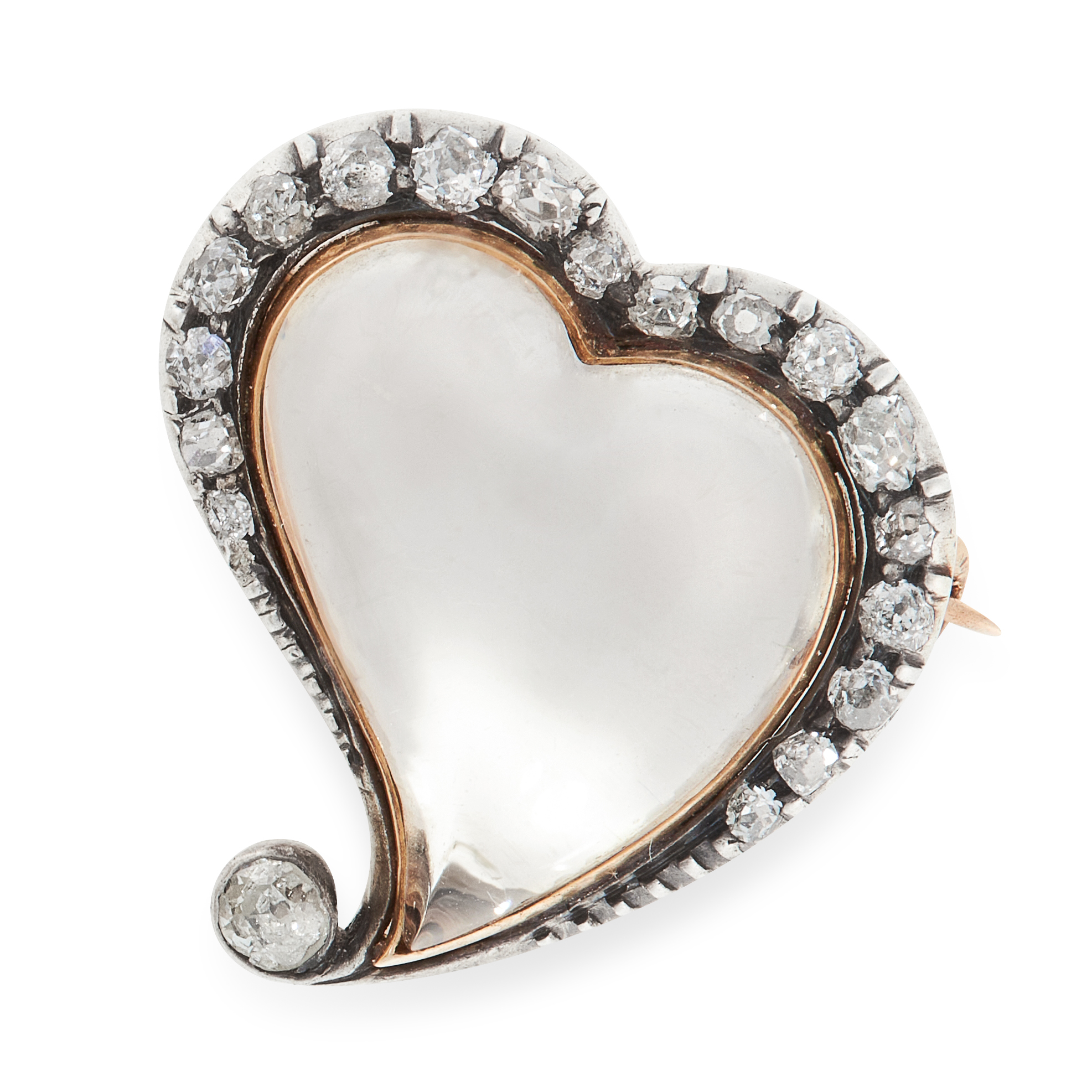 AN ANTIQUE ROCK CRYSTAL AND DIAMOND WITCH'S HEART BROOCH, 19TH CENTURY in yellow gold and silver,