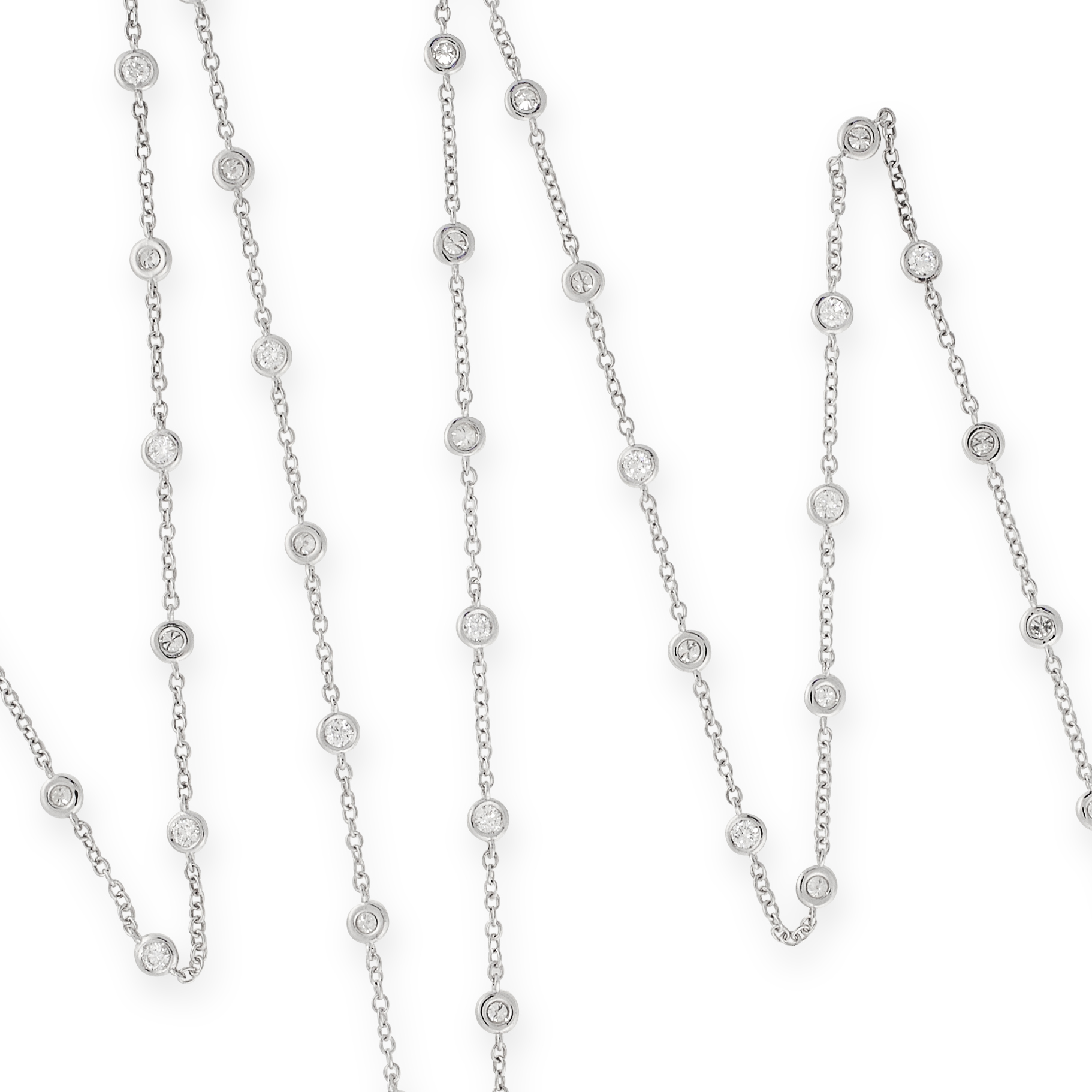 A DIAMOND LONGCHAIN NECKLACE in 18ct white gold, the chain set with forty-four round cut diamonds