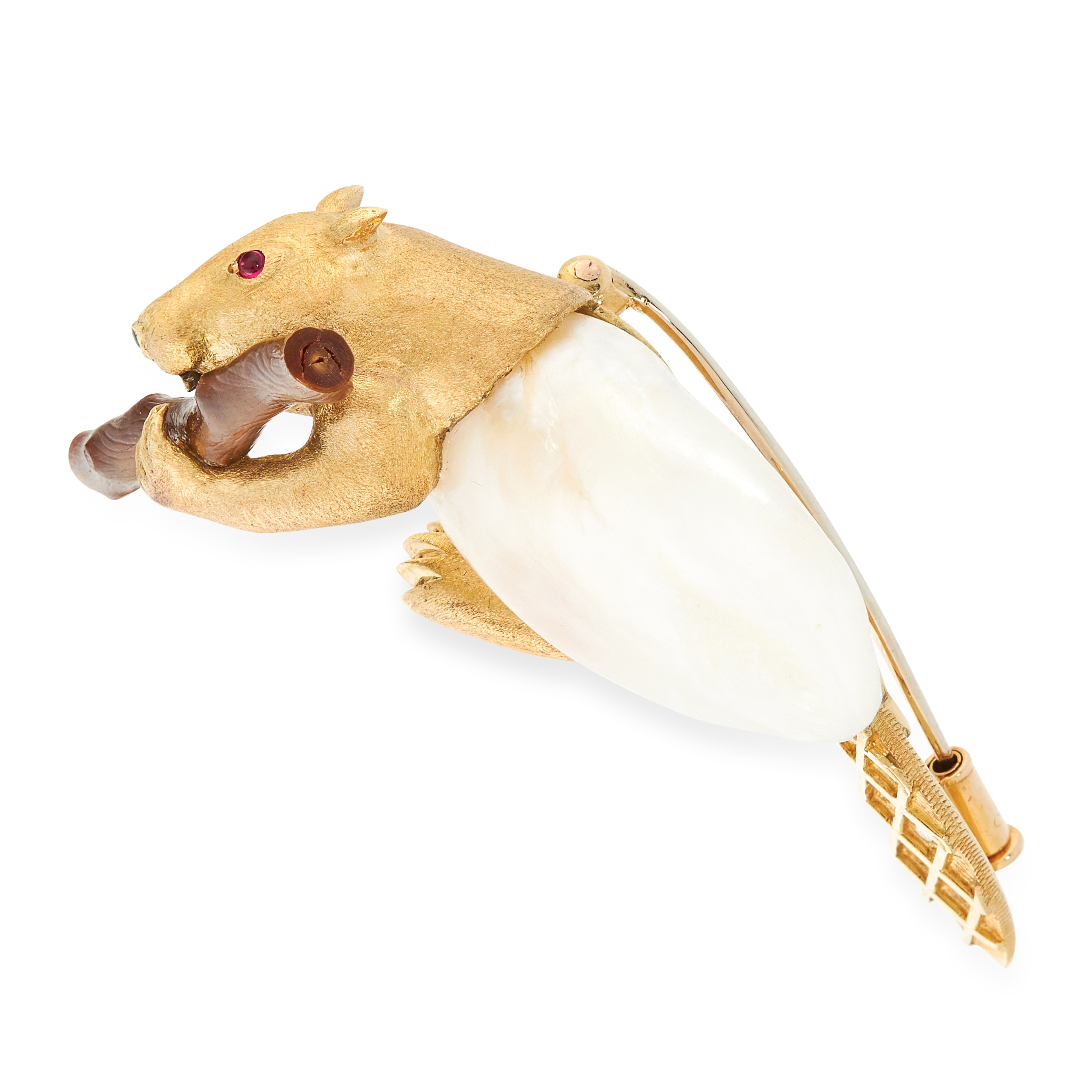 A PEARL, DIAMOND AND RUBY BEAVER BROOCH, E WOLFE & CO in 18ct yellow gold, designed as a beaver