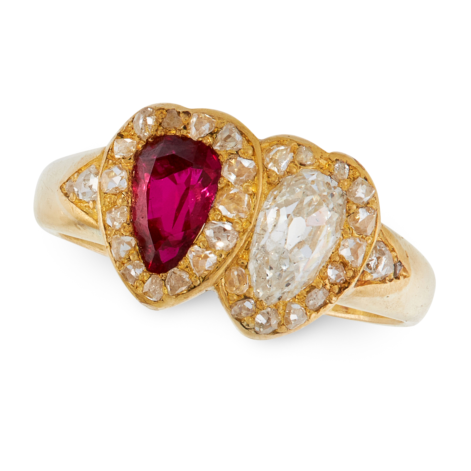 AN ANTIQUE RUBY AND DIAMOND SWEETHEART RING in 18ct yellow gold, in the form of two interlocking