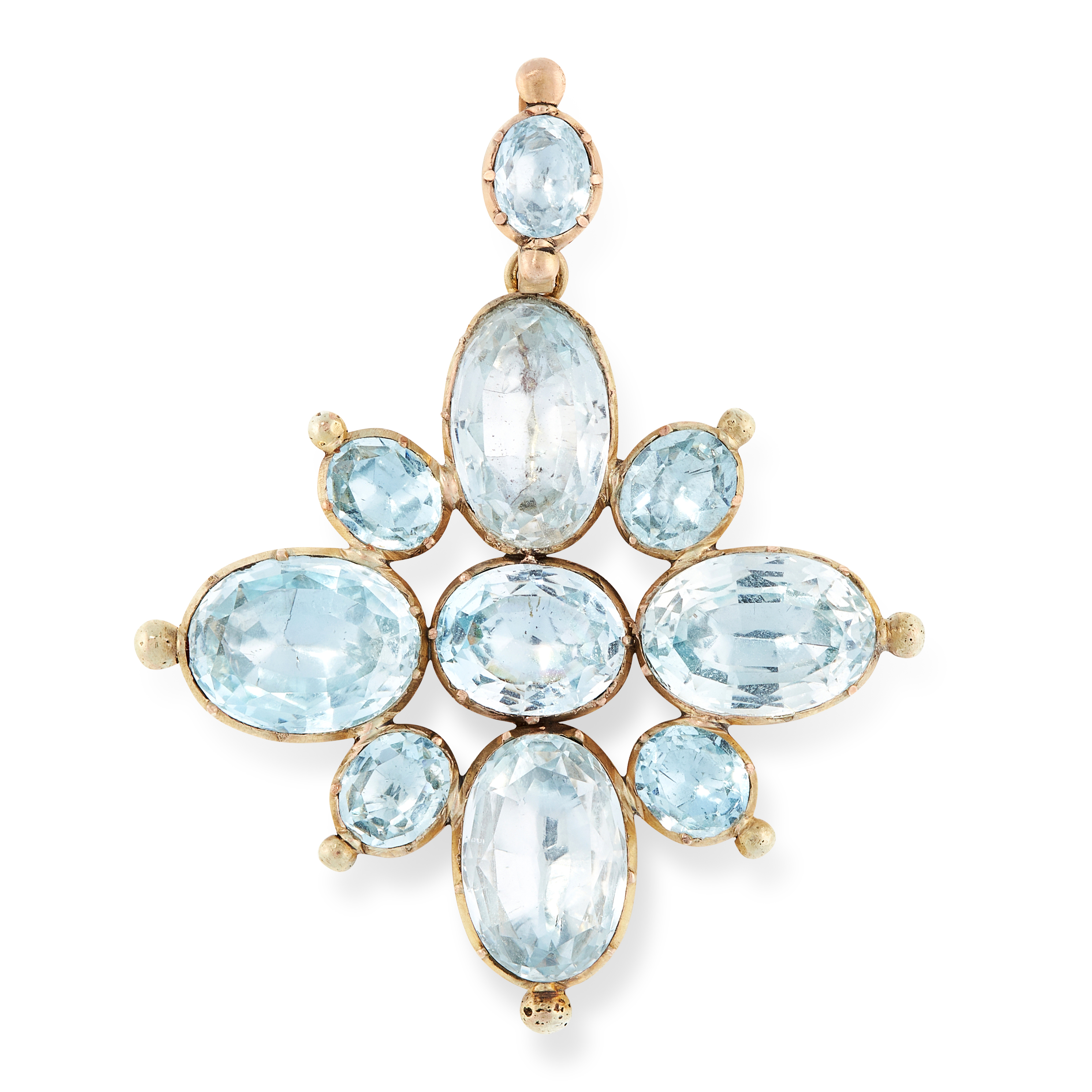 AN ANTIQUE AQUAMARINE CROSS PENDANT, EARLY 19TH CENTURY in yellow gold, designed as a cross, the