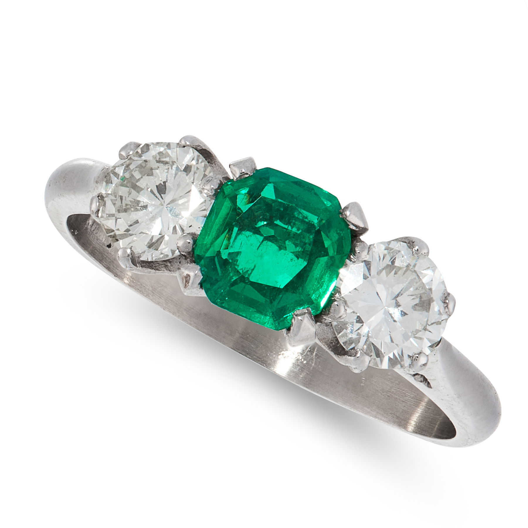 A COLOMBIAN EMERALD AND DIAMOND THREE STONE RING set with an emerald cut emerald of 0.91 carats