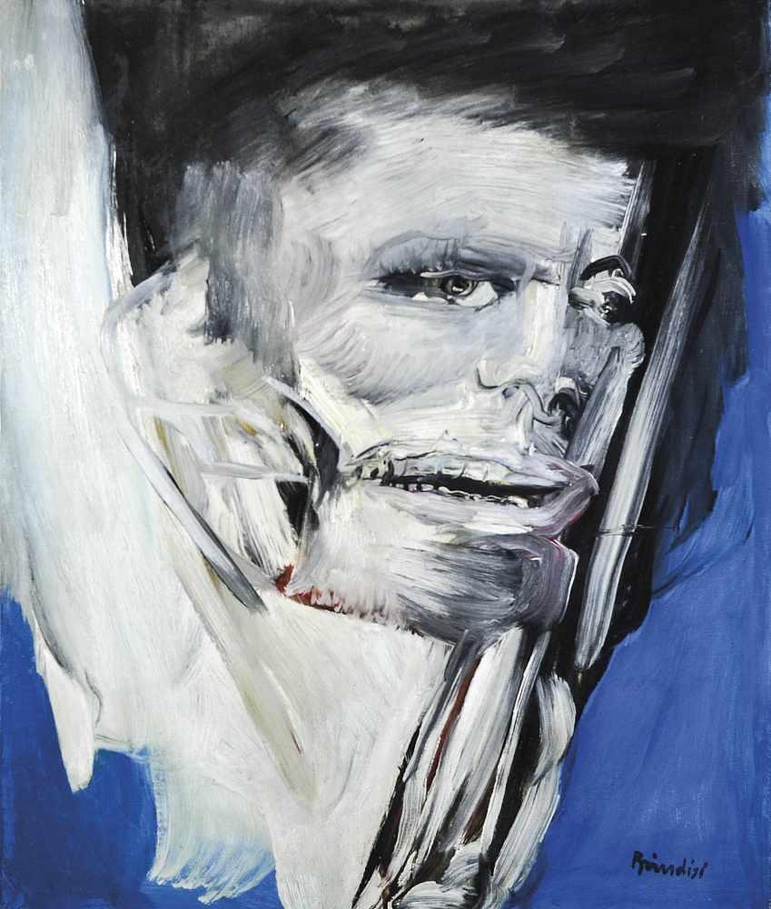"Remo Brindisi Uomo, 1960;Öl auf Leinwand, 50 x 60 cm, verso Etikette ""Fondazione Pagani – Museo d'"