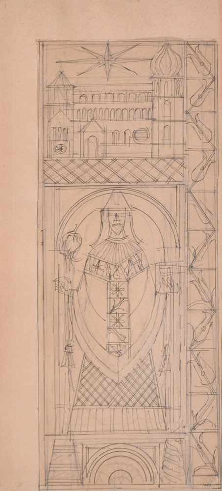 Fortunato Depero Duomo di Trento e San Vigilio, 1955/57; Zeichnung, Tinte und Bleistift auf rotem