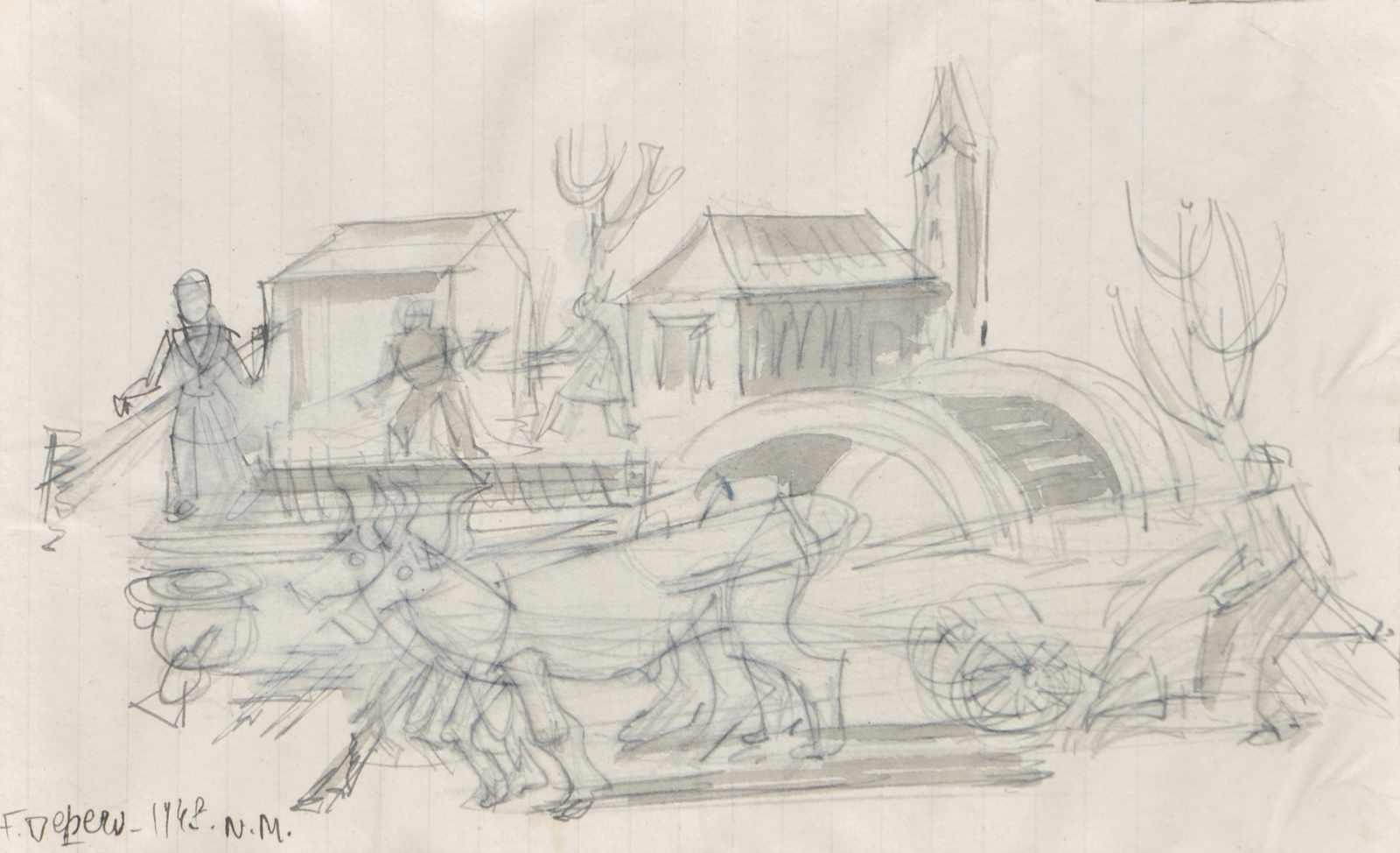 Fortunato Depero Bäuerliche Szene, 1948;Tusche auf Papier, 14 x 23 cm Signiert u. datiert