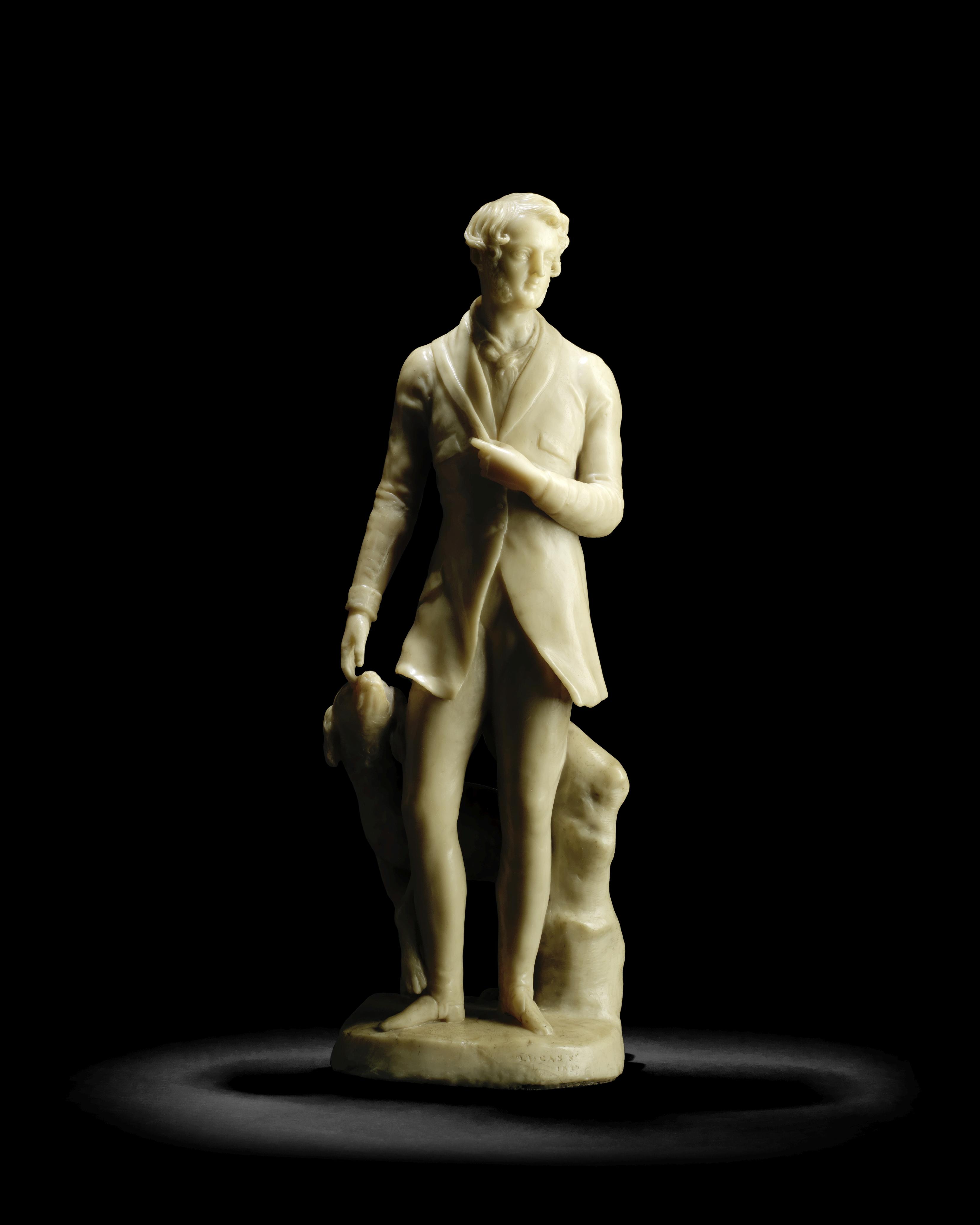 Richard Cockle Lucas (British 1800-1883): A second quarter 19th century wax portrait figure of a ...