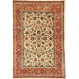 Feiner Esfahan alt, Persien, ca. 40 Jahre, Korkwolle auf Seide, ca. 214 x 142 cm, feine Qualität,