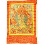 Thangka alt (Yamantaka), Tibet, um 1930, Malerei, ca. 132 x 81 cm, (Alters und Gebrauchsspuren)