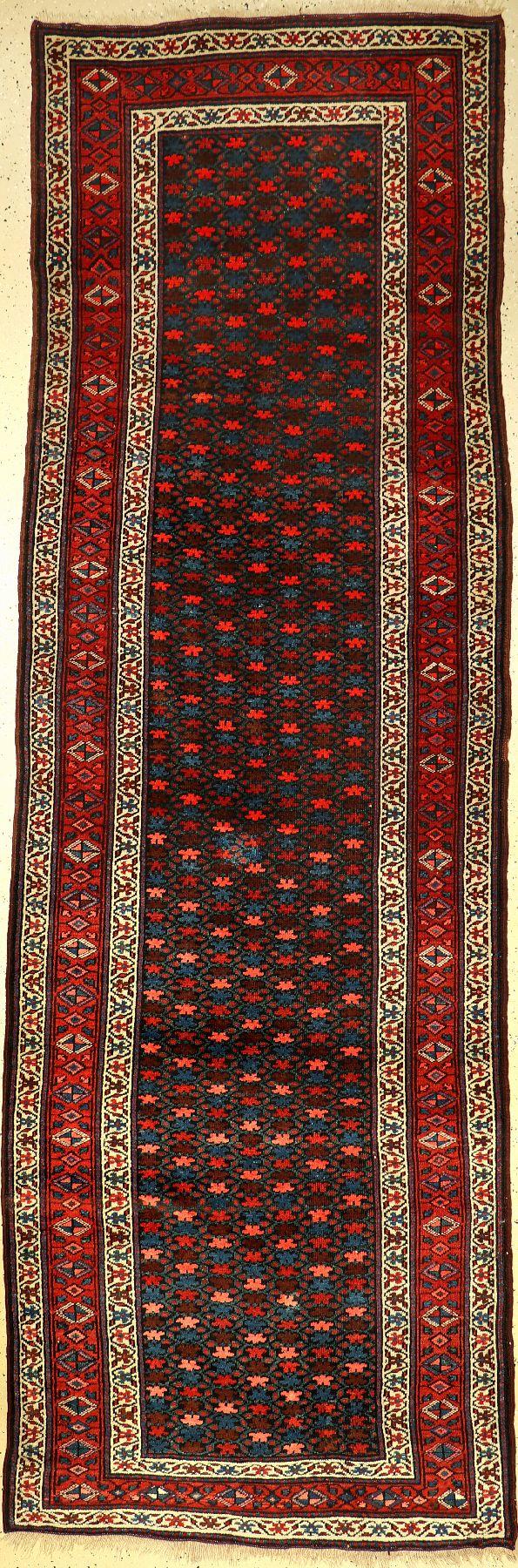 """Kurdische """"Galerie"""" alt, Persien, um 1920, Wolle auf Wolle, ca. 350 x 120 cm, EHZ: 2-3Kurdish runner"""