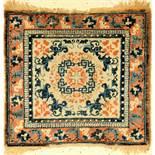 Früher Ning-Hsia antik, Sitzmatte, China, frühes/Mitte 19.Jhd., Wolle auf Baumwolle, ca.77 x 74